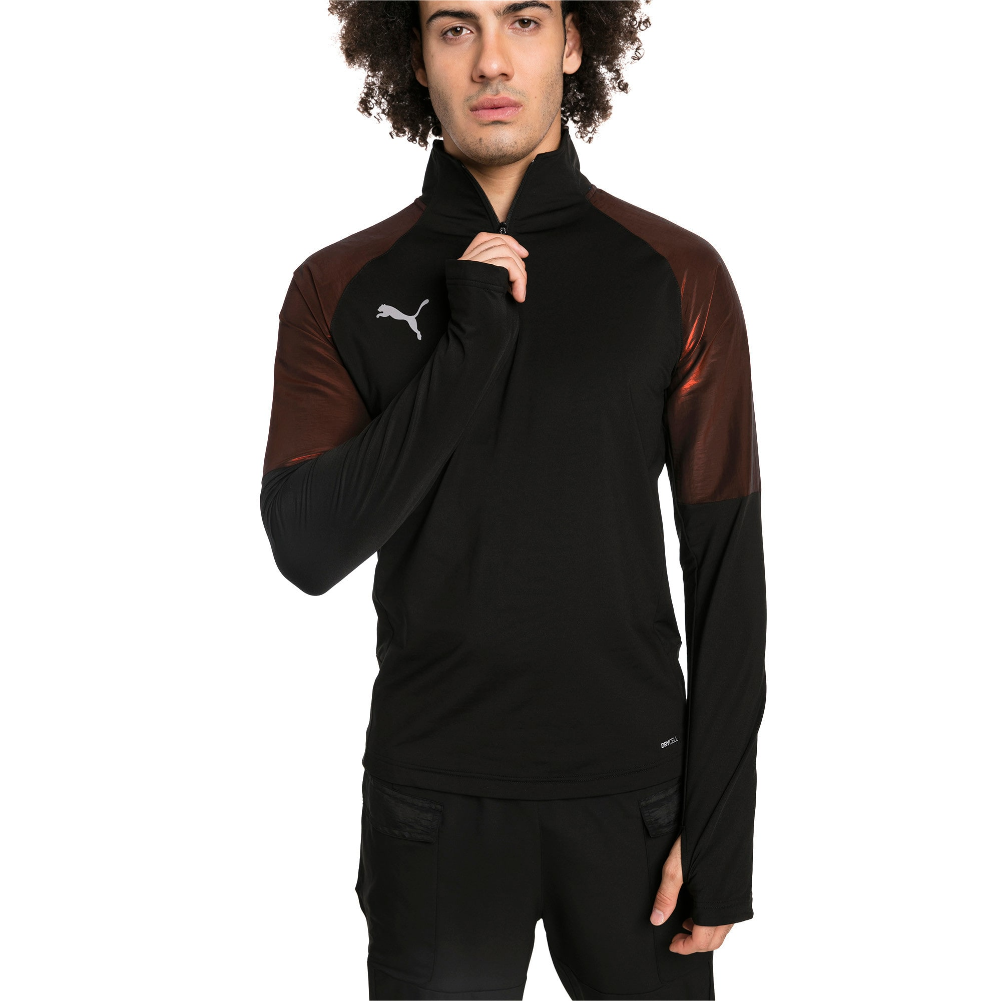 Thumbnail 1 of ftblNXT 1/4 Zip Herren Sweatshirt, Puma Black-Red Blast, medium