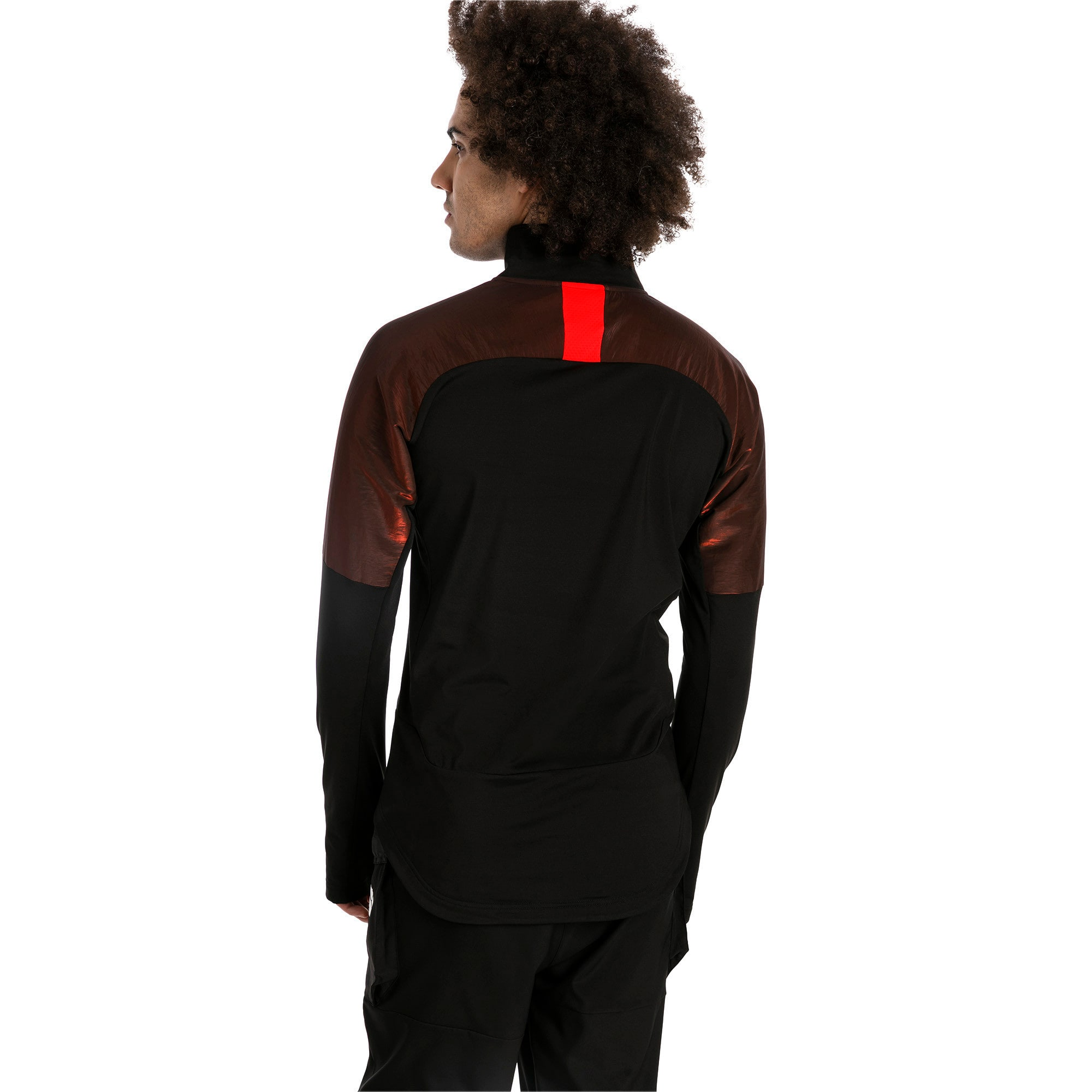 Thumbnail 2 of ftblNXT 1/4 Zip Herren Sweatshirt, Puma Black-Red Blast, medium