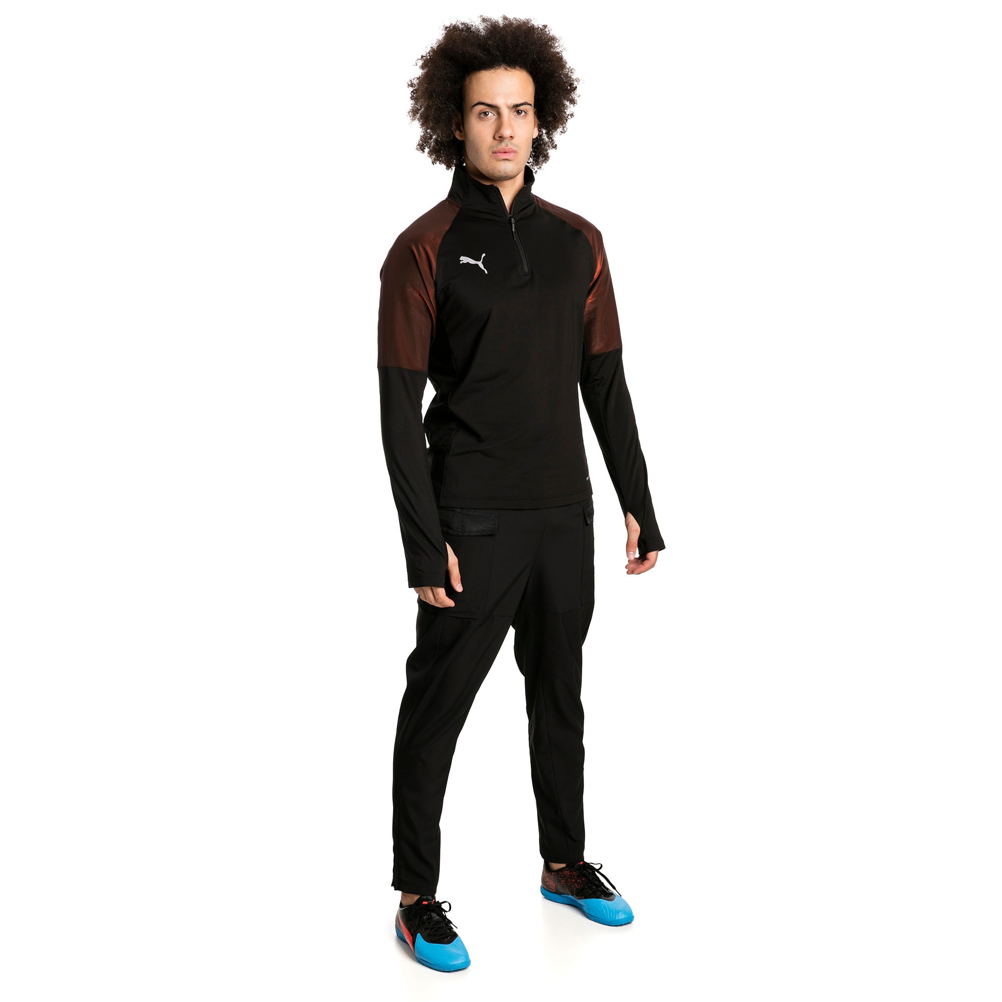 Thumbnail 3 of ftblNXT 1/4 Zip Herren Sweatshirt, Puma Black-Red Blast, medium
