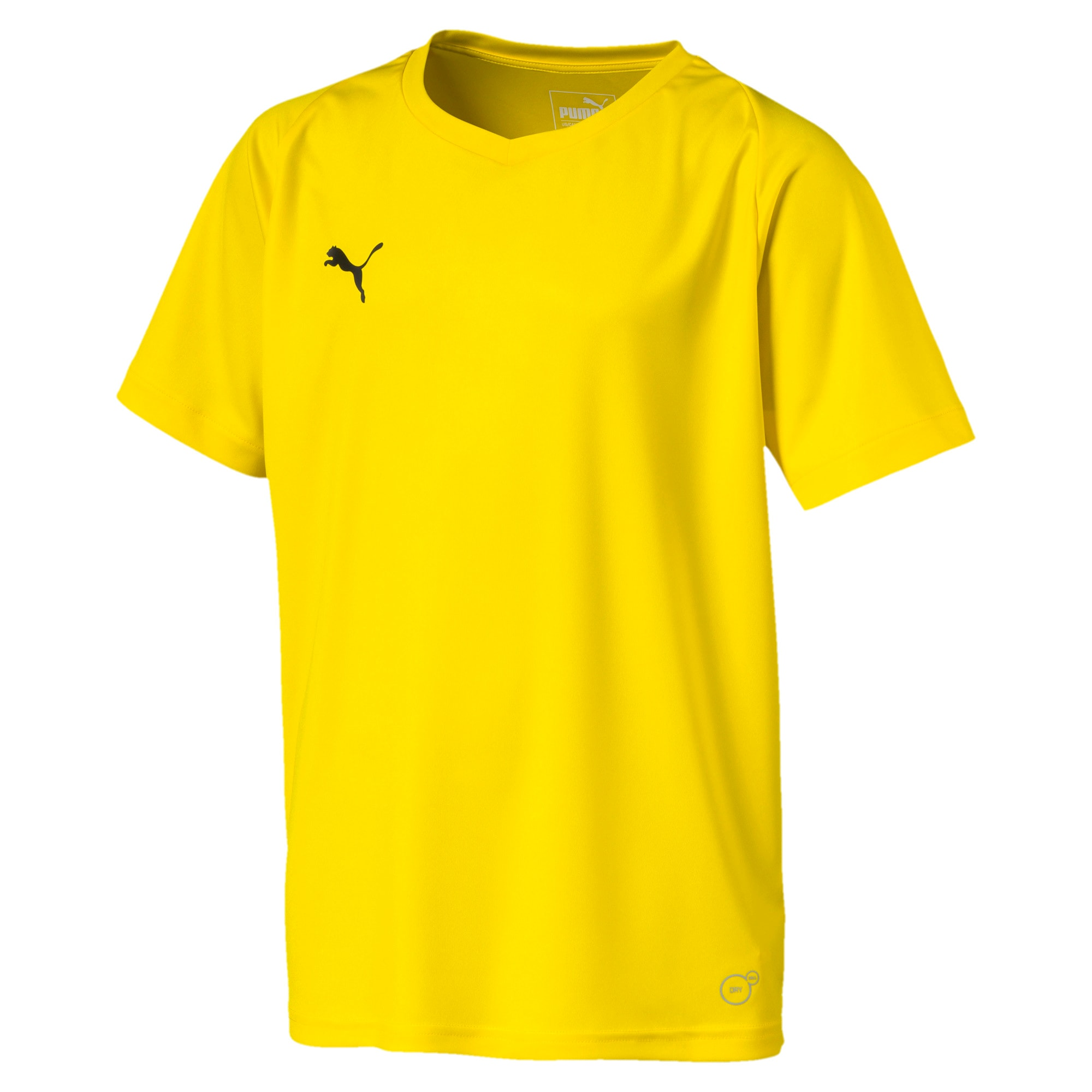 Liga Core Junior Football Jersey, Cyber Yellow-Puma Black, large