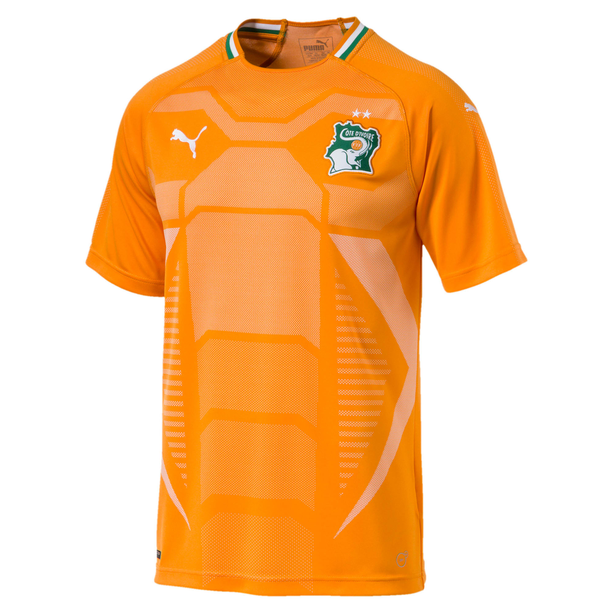 Thumbnail 4 of Ivory Coast Home Replica Jersey, Flame Orange-Pepper Green, medium