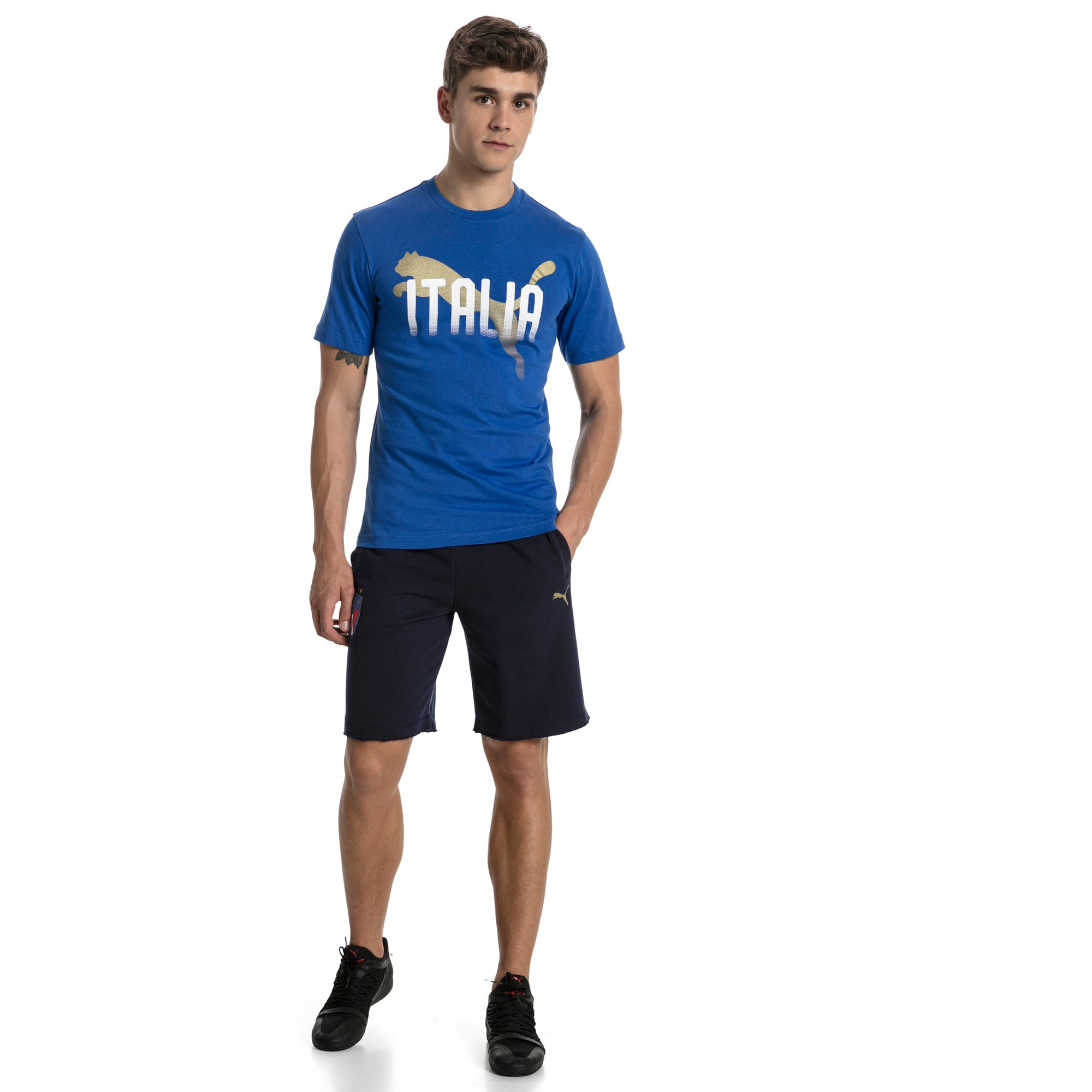 FIGC Men's Italia Fanwear Graphic Tee, Team Power Blue, large