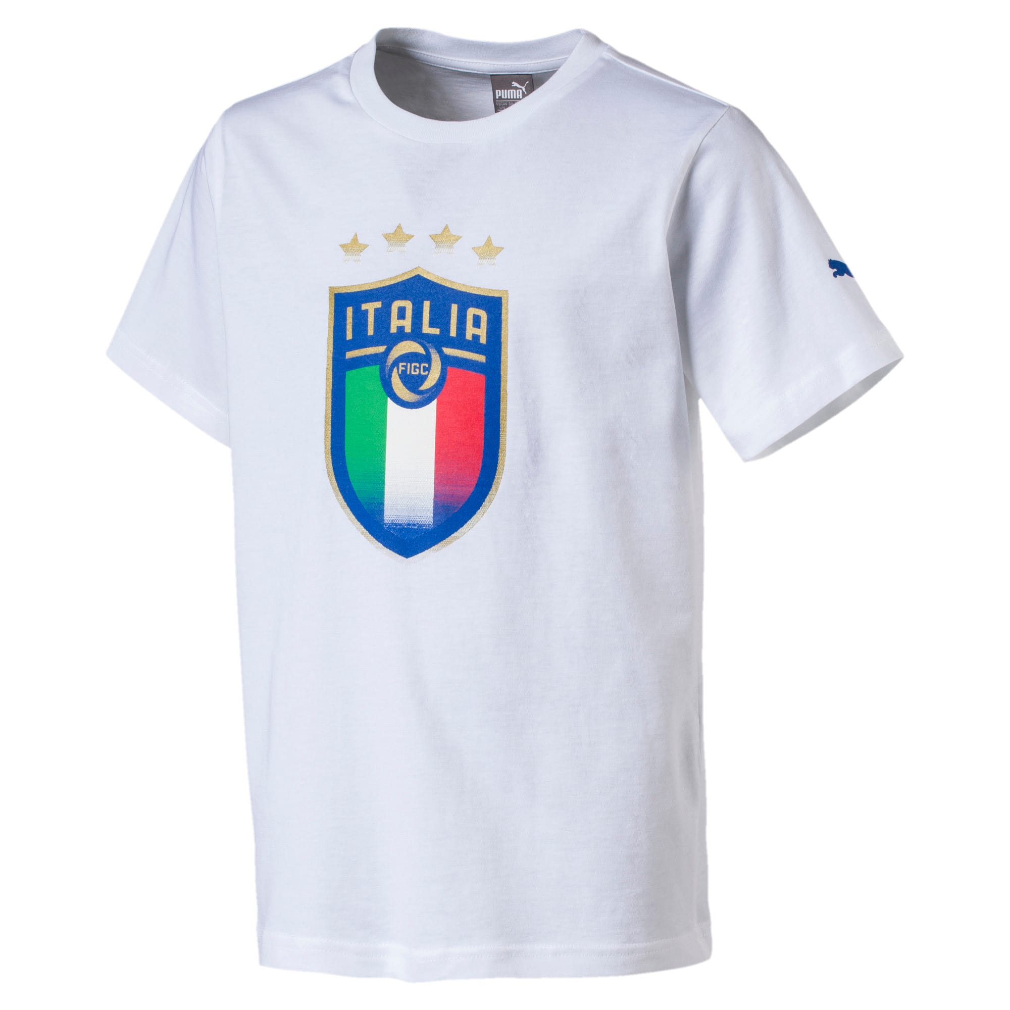 Thumbnail 3 of Italia Badge Tee Jr, Puma White, medium