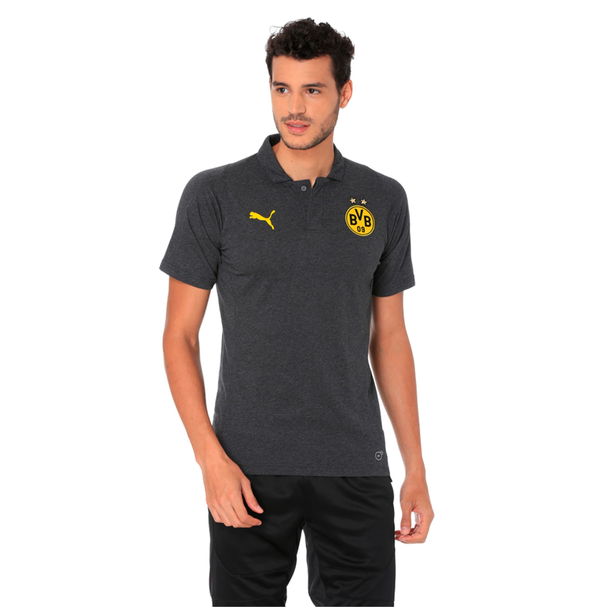 Thumbnail 3 of BVB Casual Polo without Sponsor Logo Pum, Dark Gray Heather, medium-IND