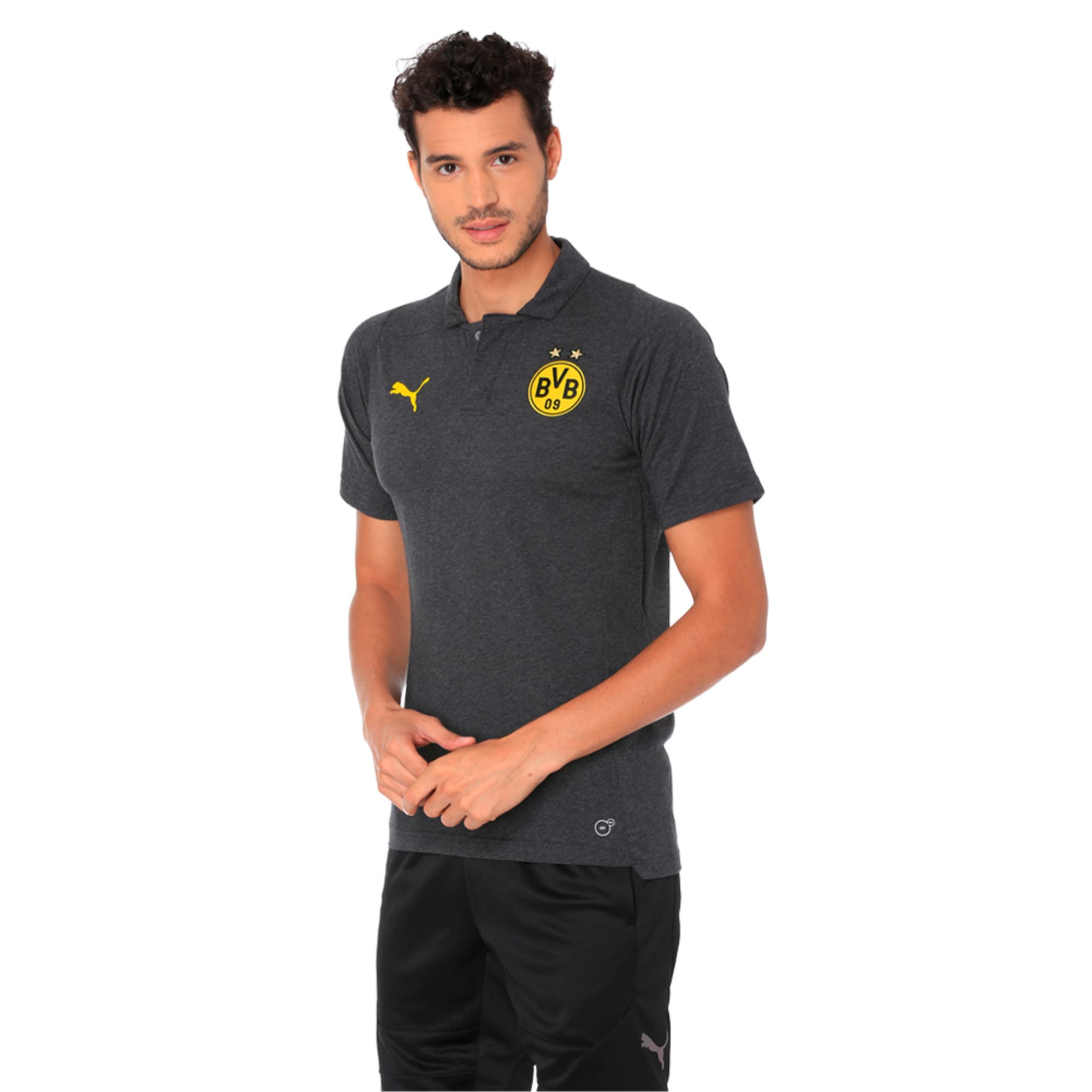 Thumbnail 1 of BVB Casual Polo without Sponsor Logo Pum, Dark Gray Heather, medium-IND