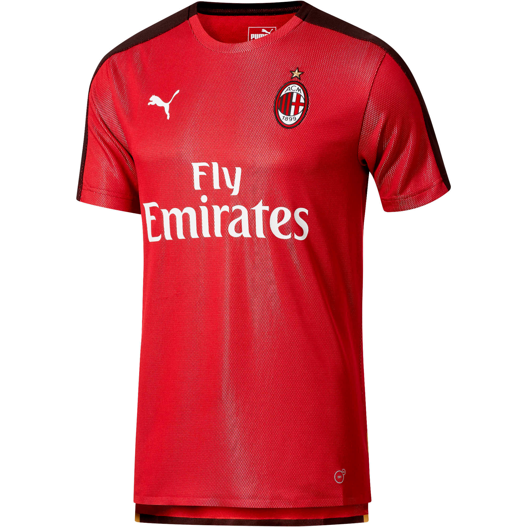 AC Milan Men's Stadium Jersey, Chili Pepper-Puma Black, large