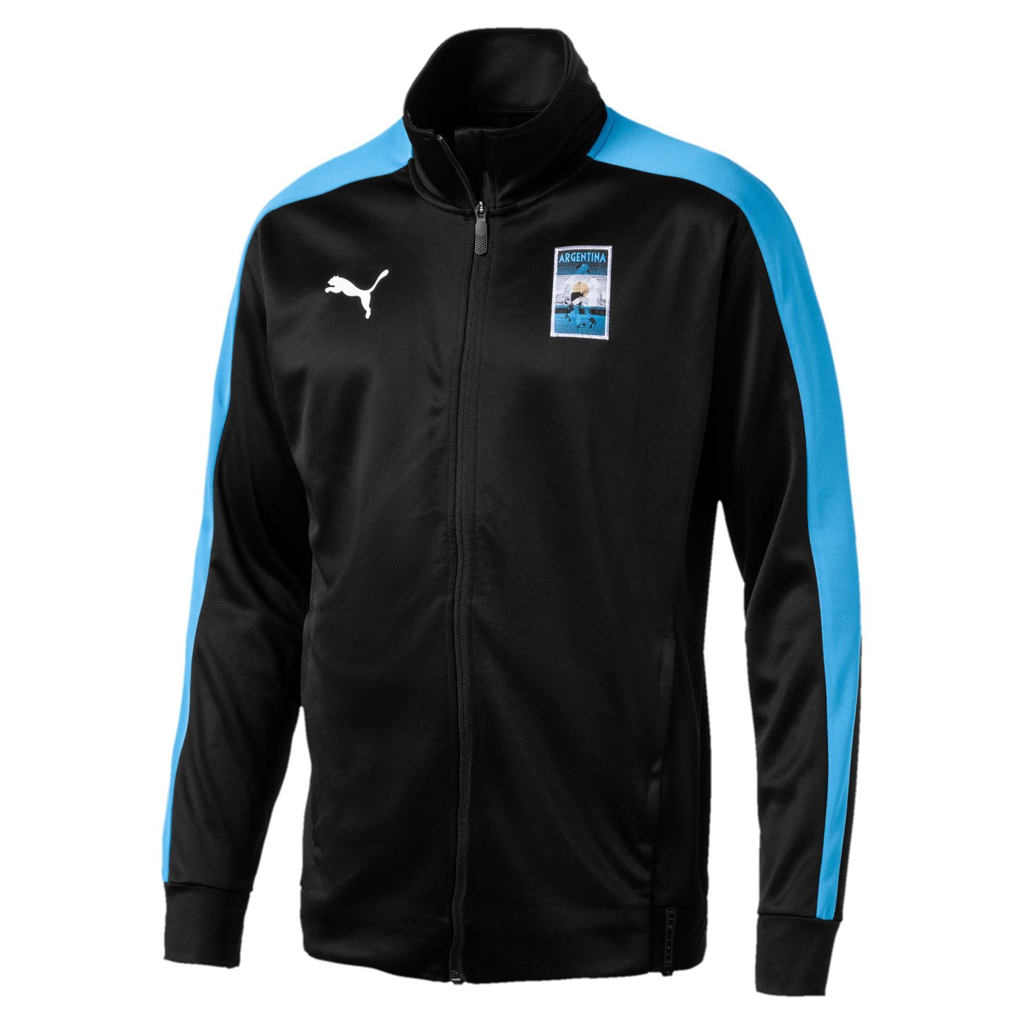 Thumbnail 2 of Copa America Men's T7 Track Jacket, Puma Black-AZURE BLUE, medium