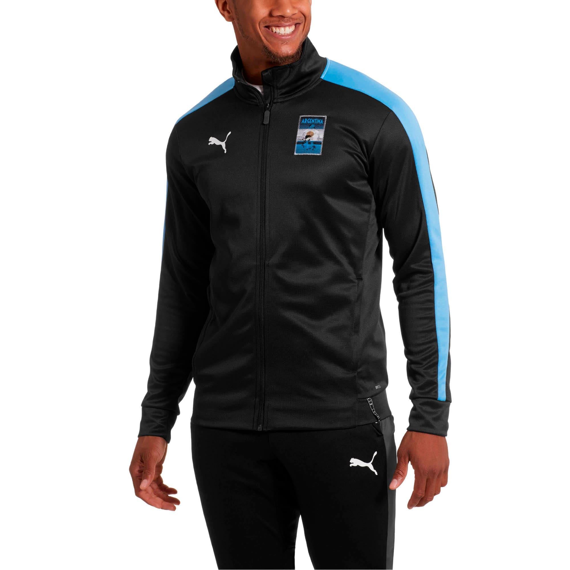 Thumbnail 1 of Copa America Men's T7 Track Jacket, Puma Black-AZURE BLUE, medium