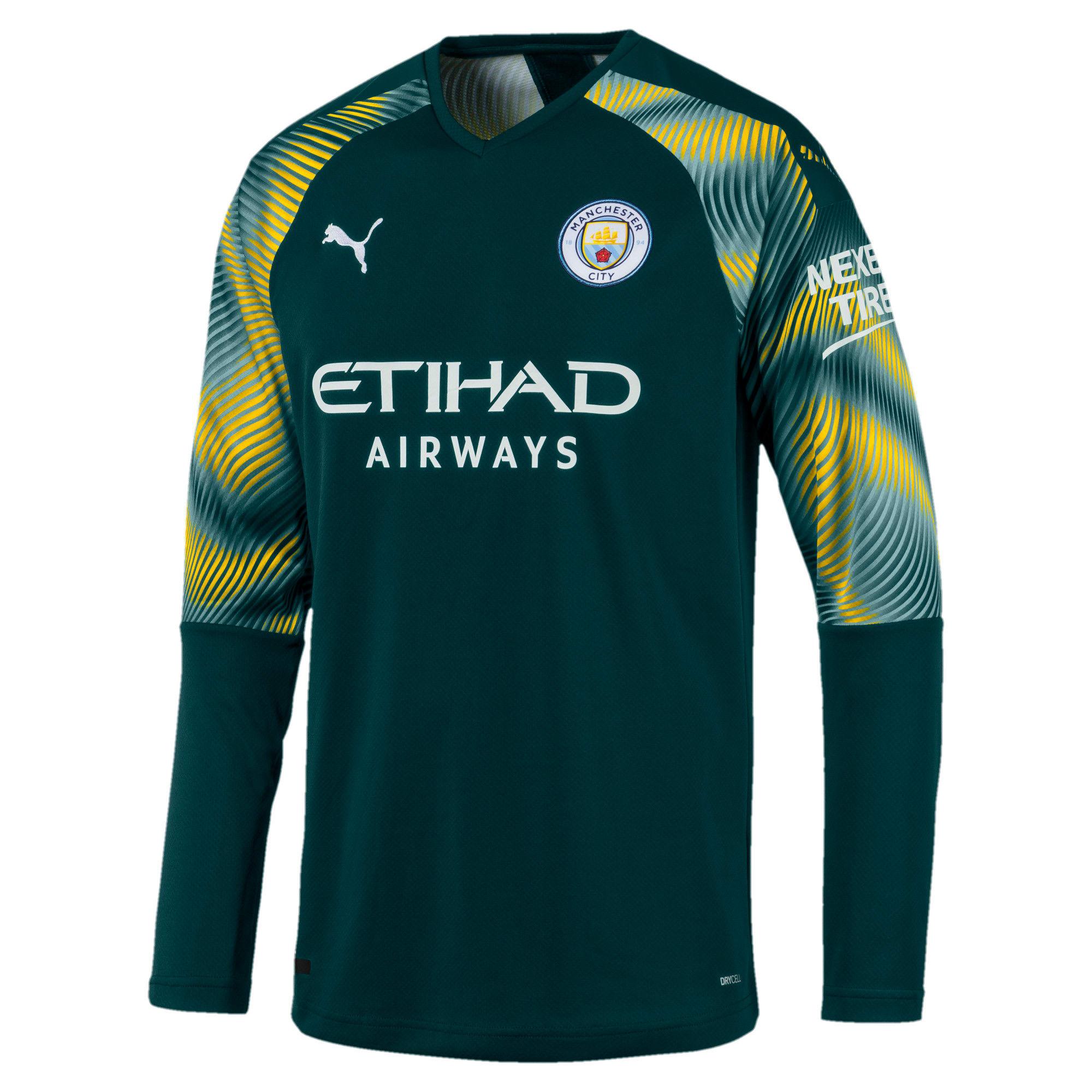Miniatura 1 de Réplica de camiseta de arquero de Manchester City FC para hombre, Ponderosa Pine-Cyber Yellow, mediano