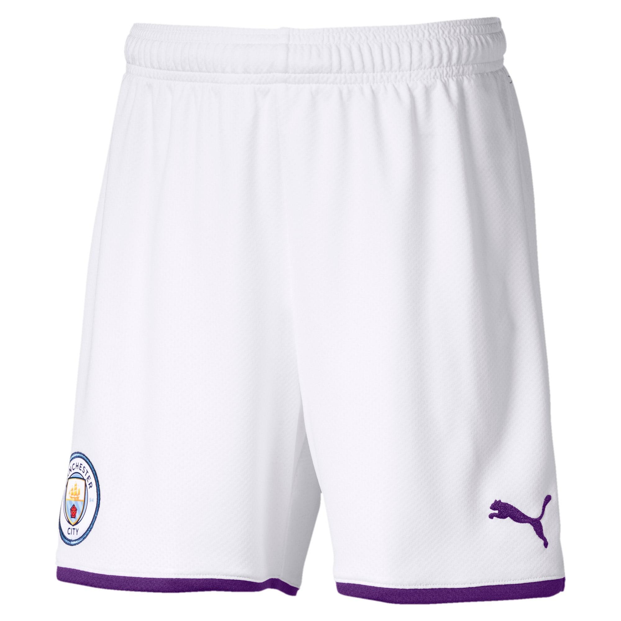Thumbnail 1 of Manchester City FC Kids' Third Replica Shorts, Puma White-Tillandsia Purple, medium