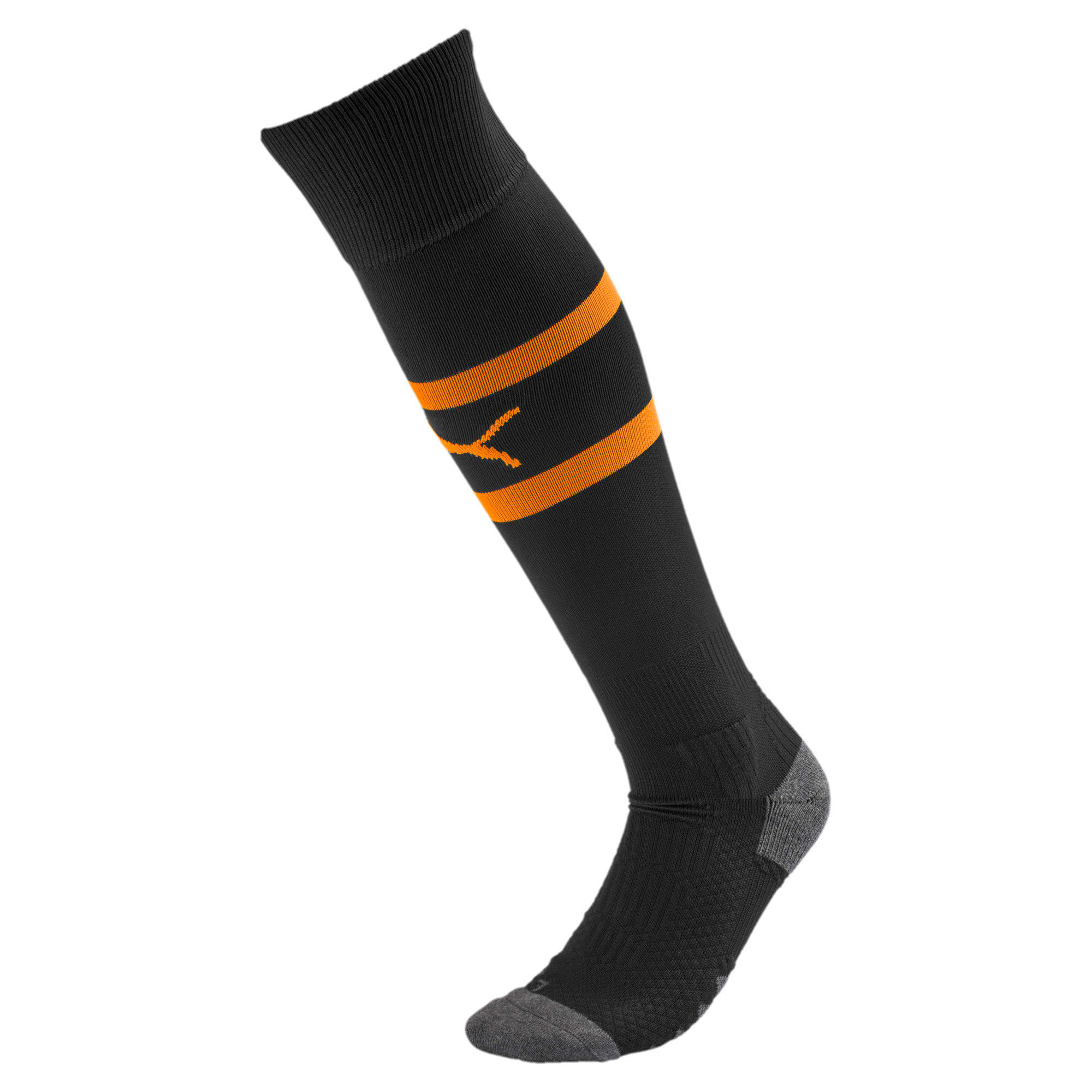 Thumbnail 1 of Olympique de Marseille Boys' Band Socks, Puma Black-Orange Popsicle, medium