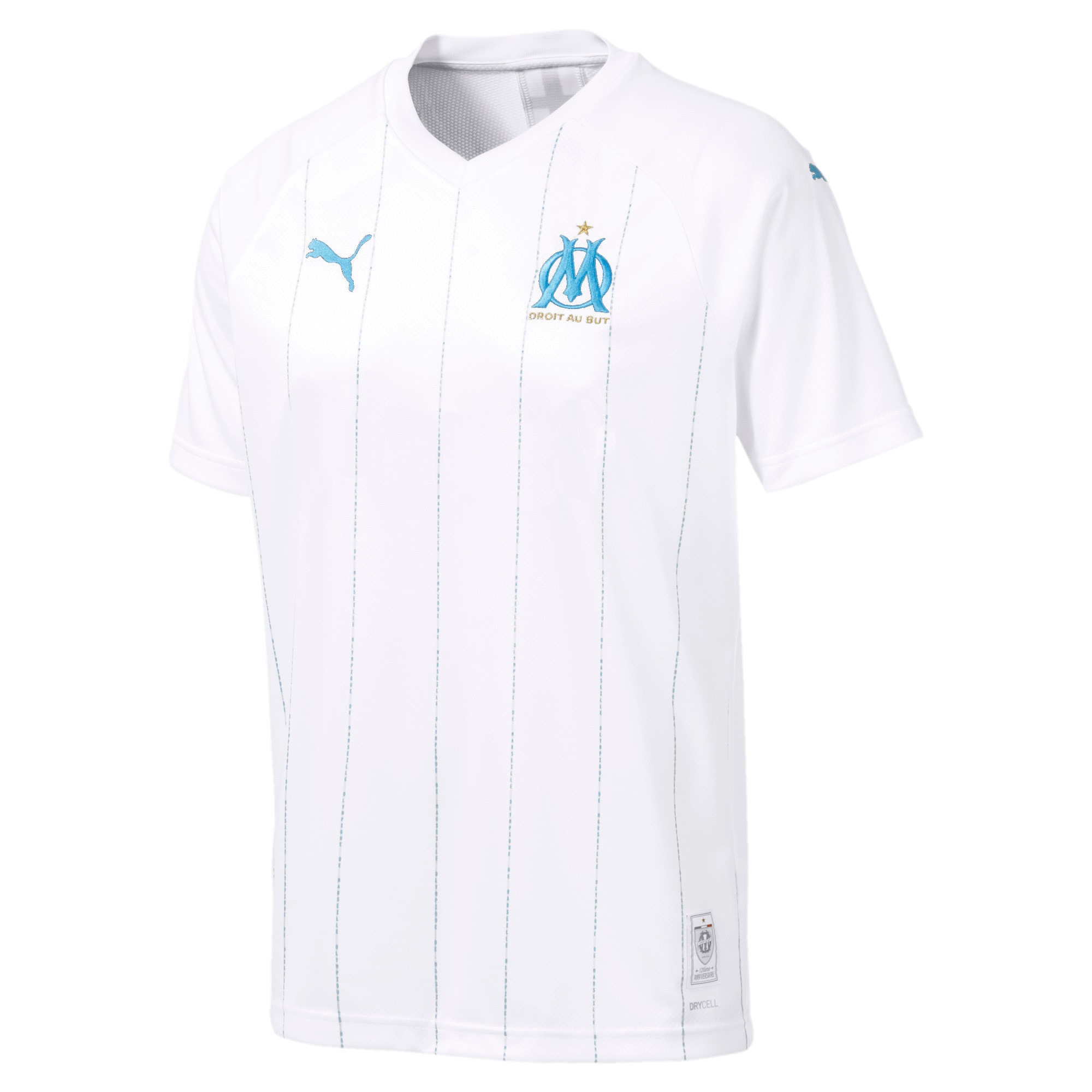 Thumbnail 1 of Olympique de Marseille Men's Home Replica Jersey, Puma White-Bleu Azur, medium