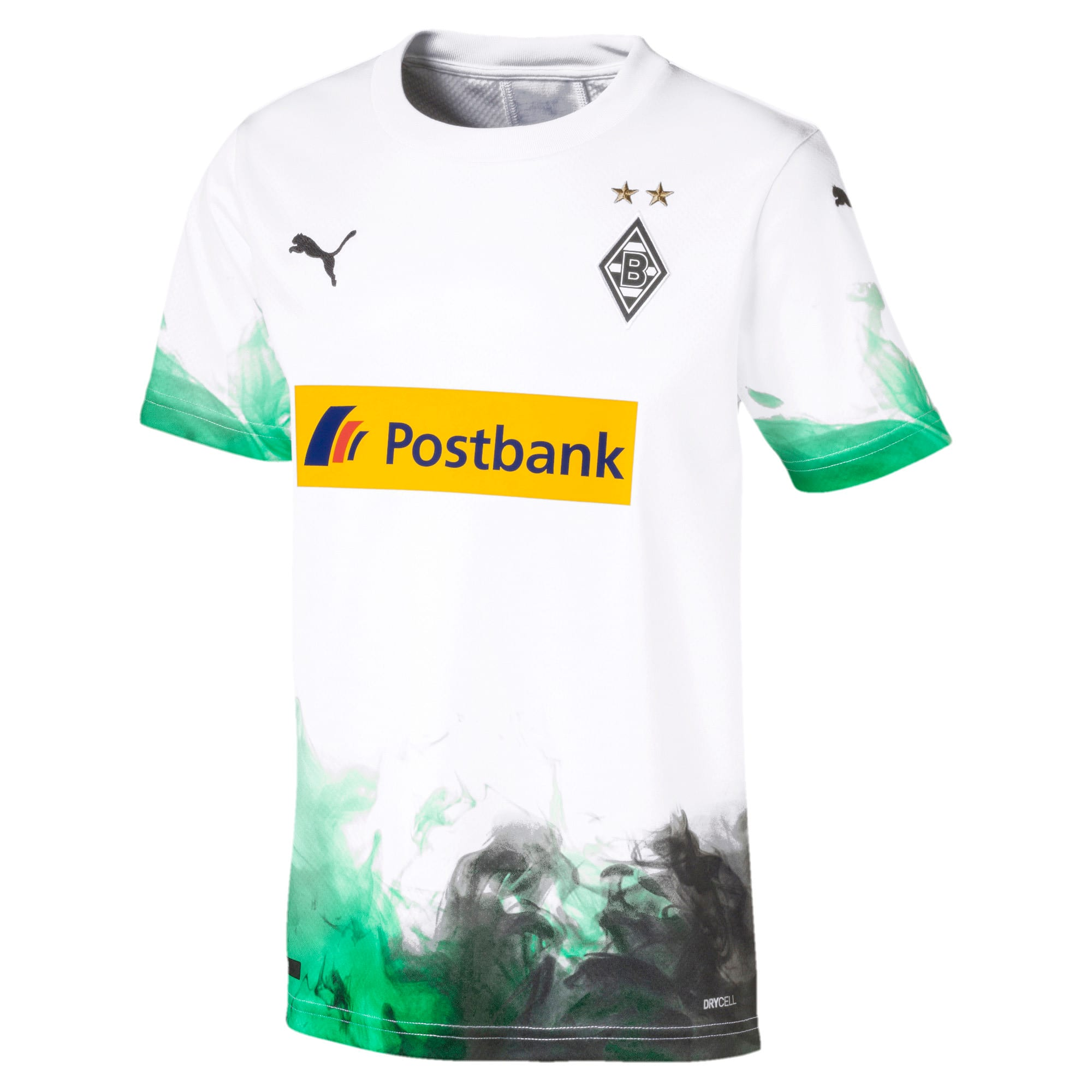 Thumbnail 1 of Borussia Mönchengladbach Kids' Home Replica Jersey, Puma White-Bright Green, medium