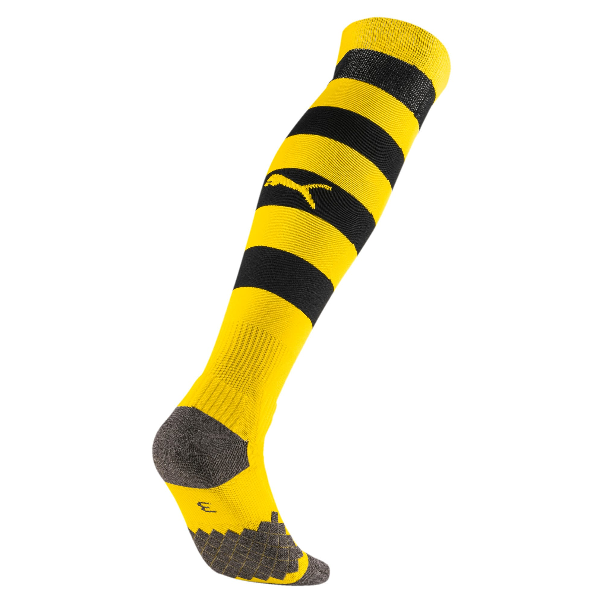 Thumbnail 2 of BVB Men's Hooped Socks, Cyber Yellow-Puma Black, medium