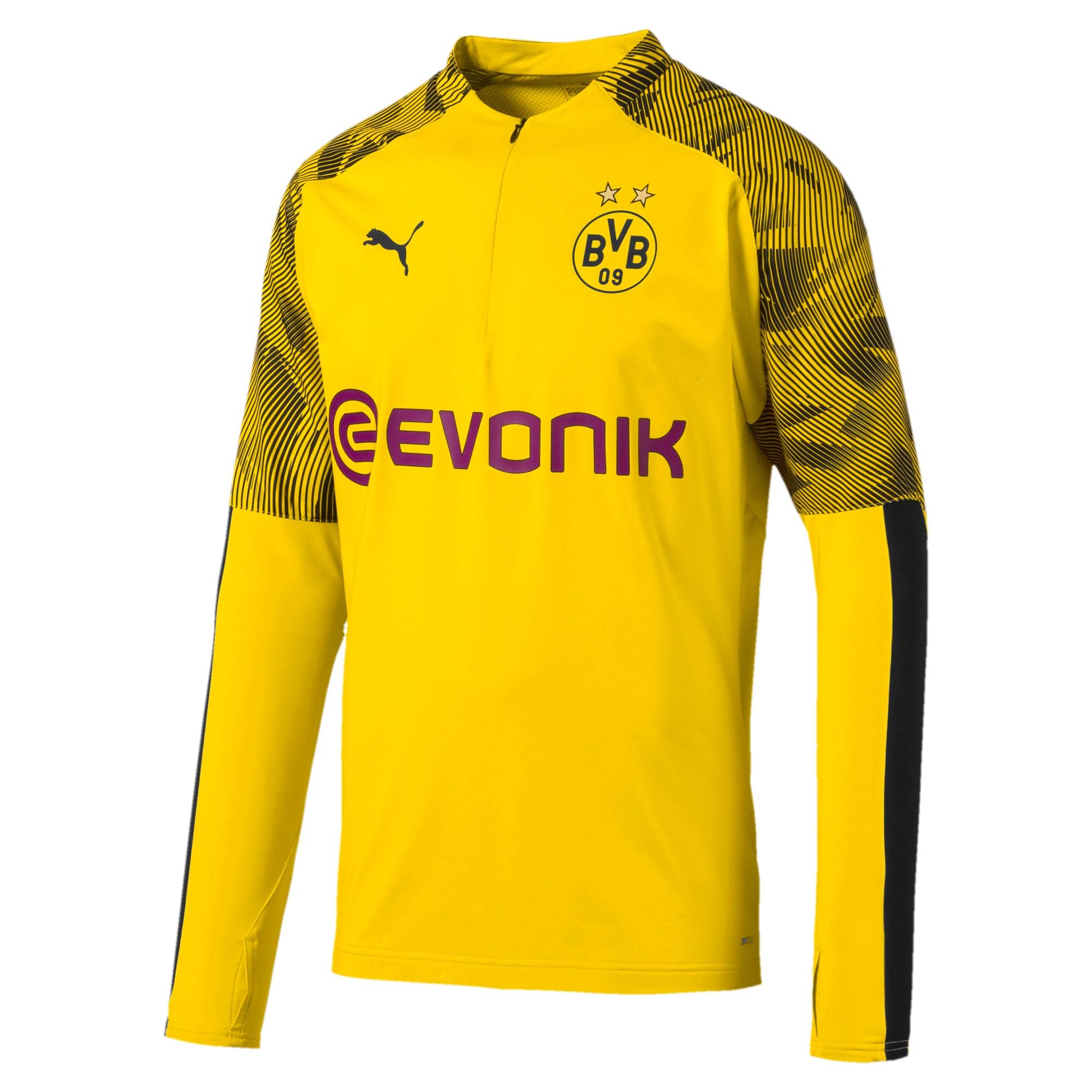 Thumbnail 4 of BVB Men's 1/4 Zip Training Top, Cyber Yellow-Puma Black, medium