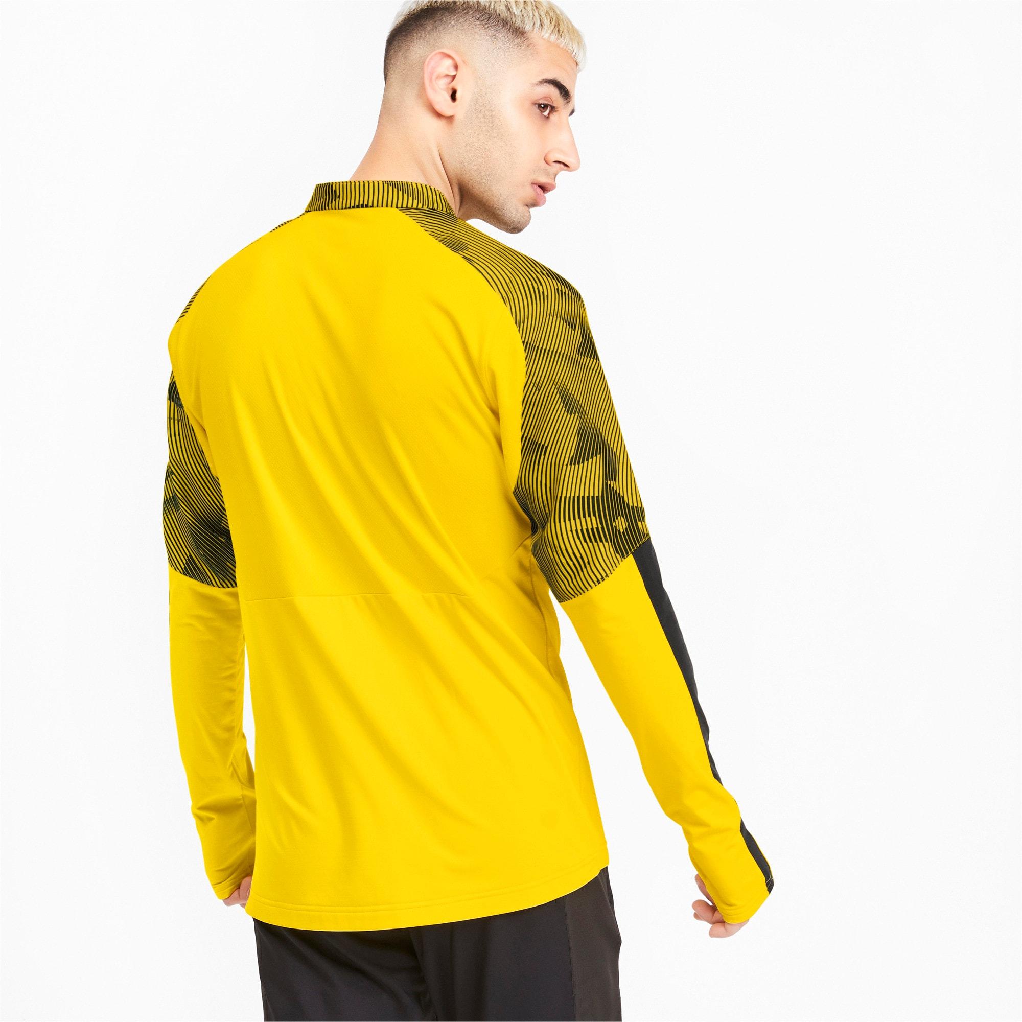 Thumbnail 2 of BVB Men's 1/4 Zip Training Top, Cyber Yellow-Puma Black, medium