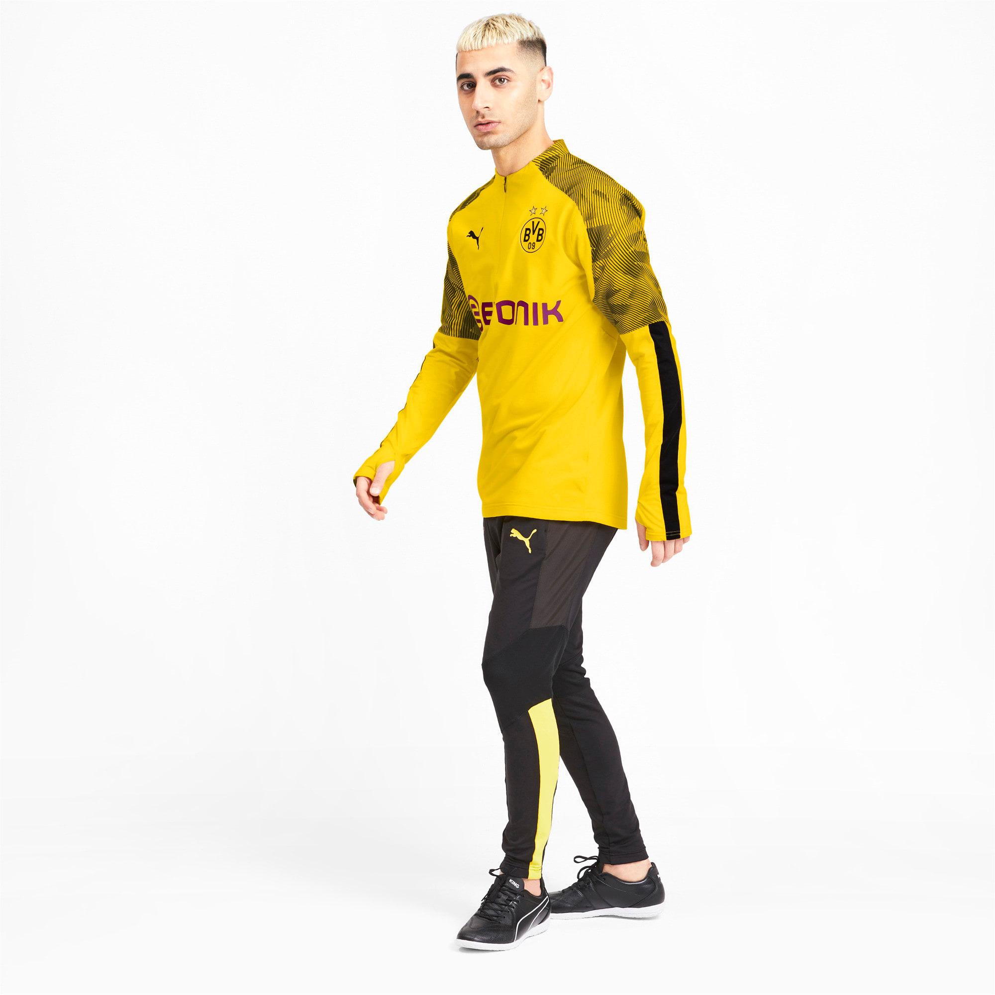 Thumbnail 3 of BVB Men's 1/4 Zip Training Top, Cyber Yellow-Puma Black, medium