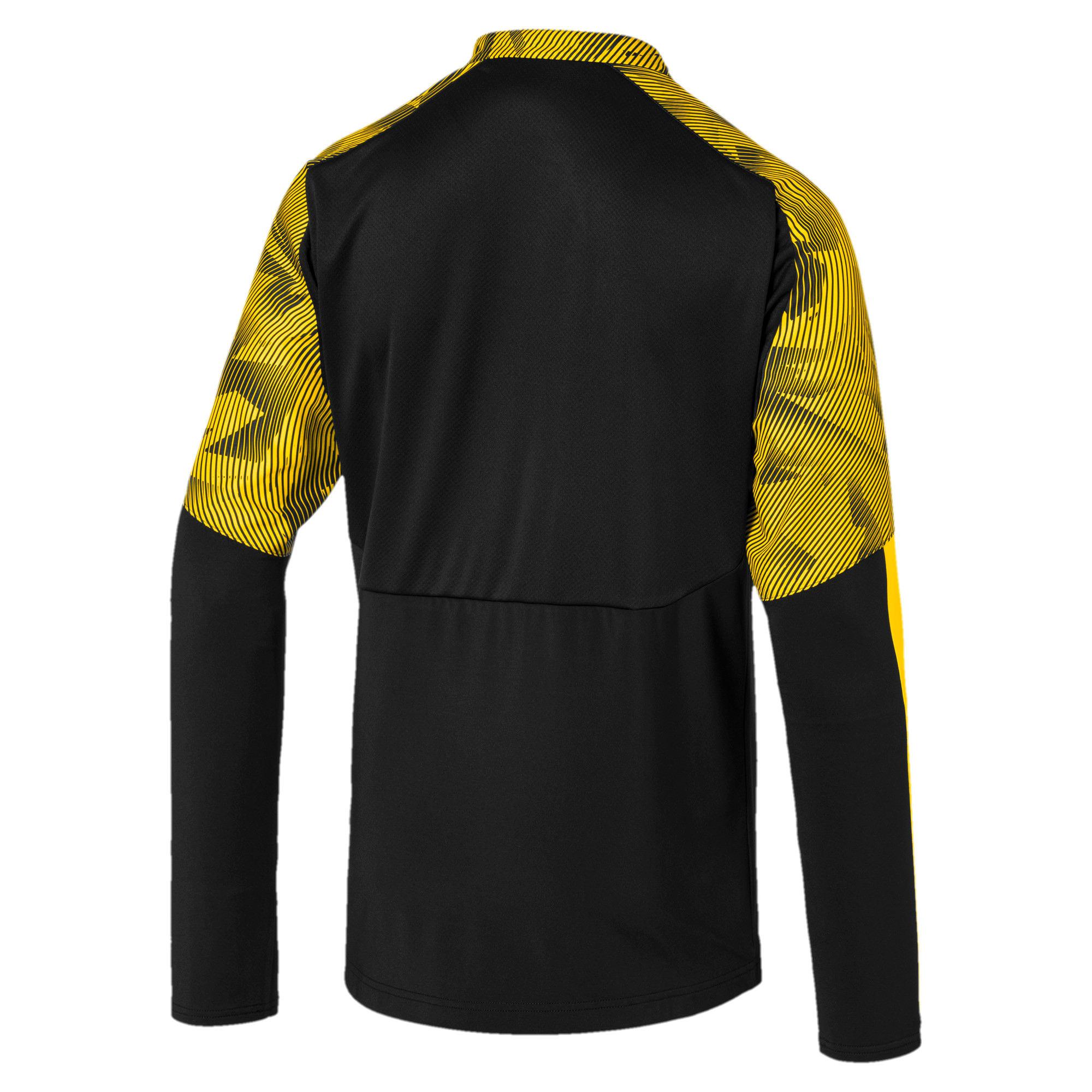 Thumbnail 5 of BVB Men's 1/4 Zip Training Top, Puma Black-Cyber Yellow, medium