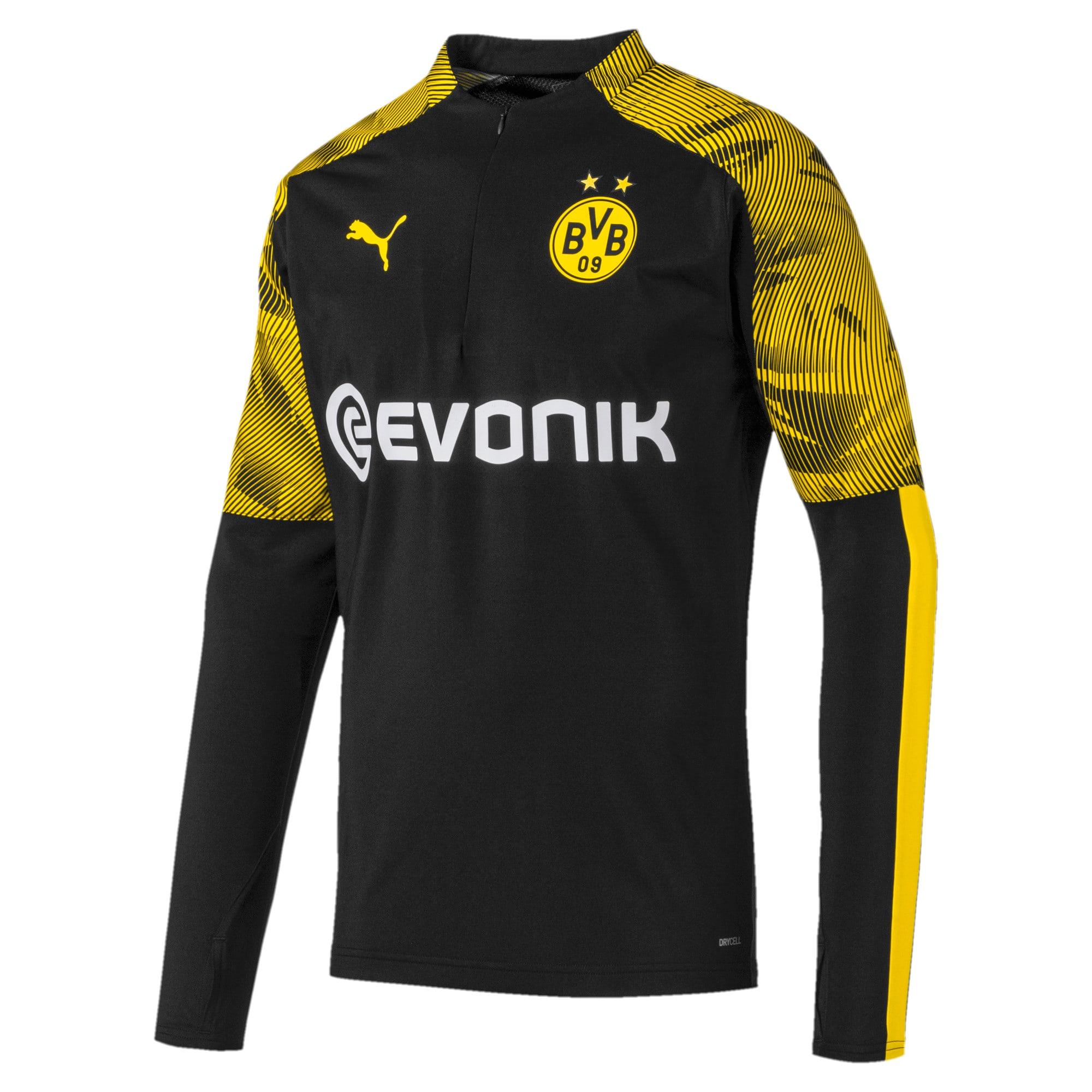 Thumbnail 4 of BVB Men's 1/4 Zip Training Top, Puma Black-Cyber Yellow, medium