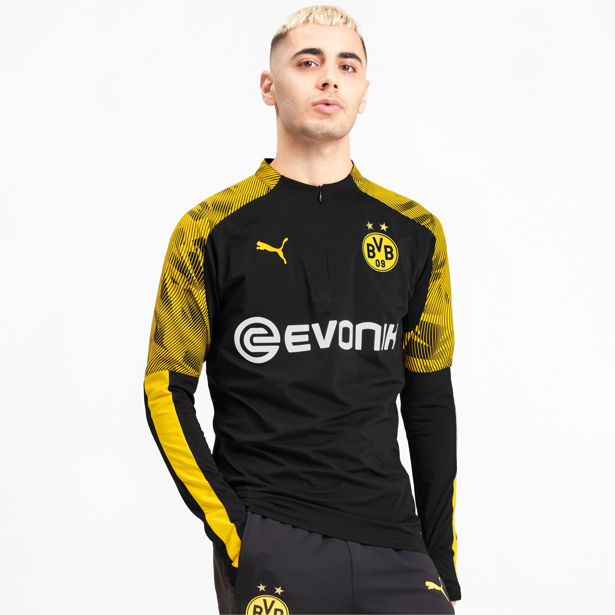 Thumbnail 1 of BVB Men's 1/4 Zip Training Top, Puma Black-Cyber Yellow, medium