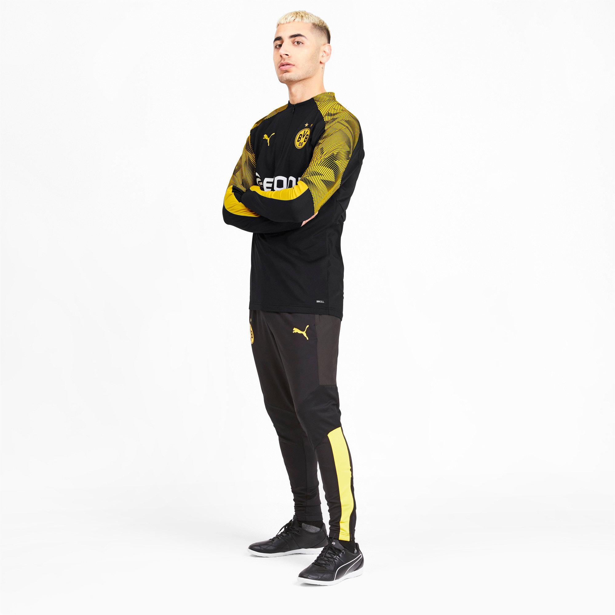 Thumbnail 3 of BVB Men's 1/4 Zip Training Top, Puma Black-Cyber Yellow, medium
