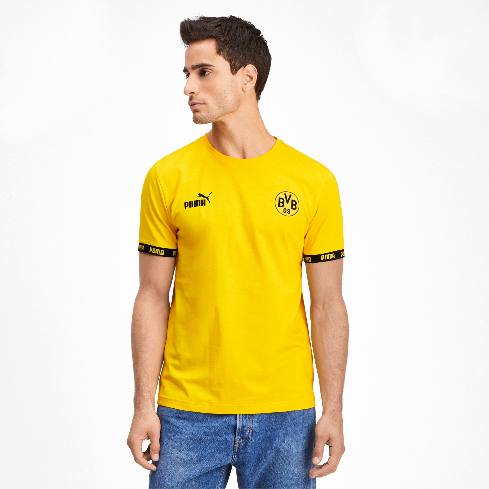 BVB Ftbl Culture Men's Tee, Cyber Yellow, large