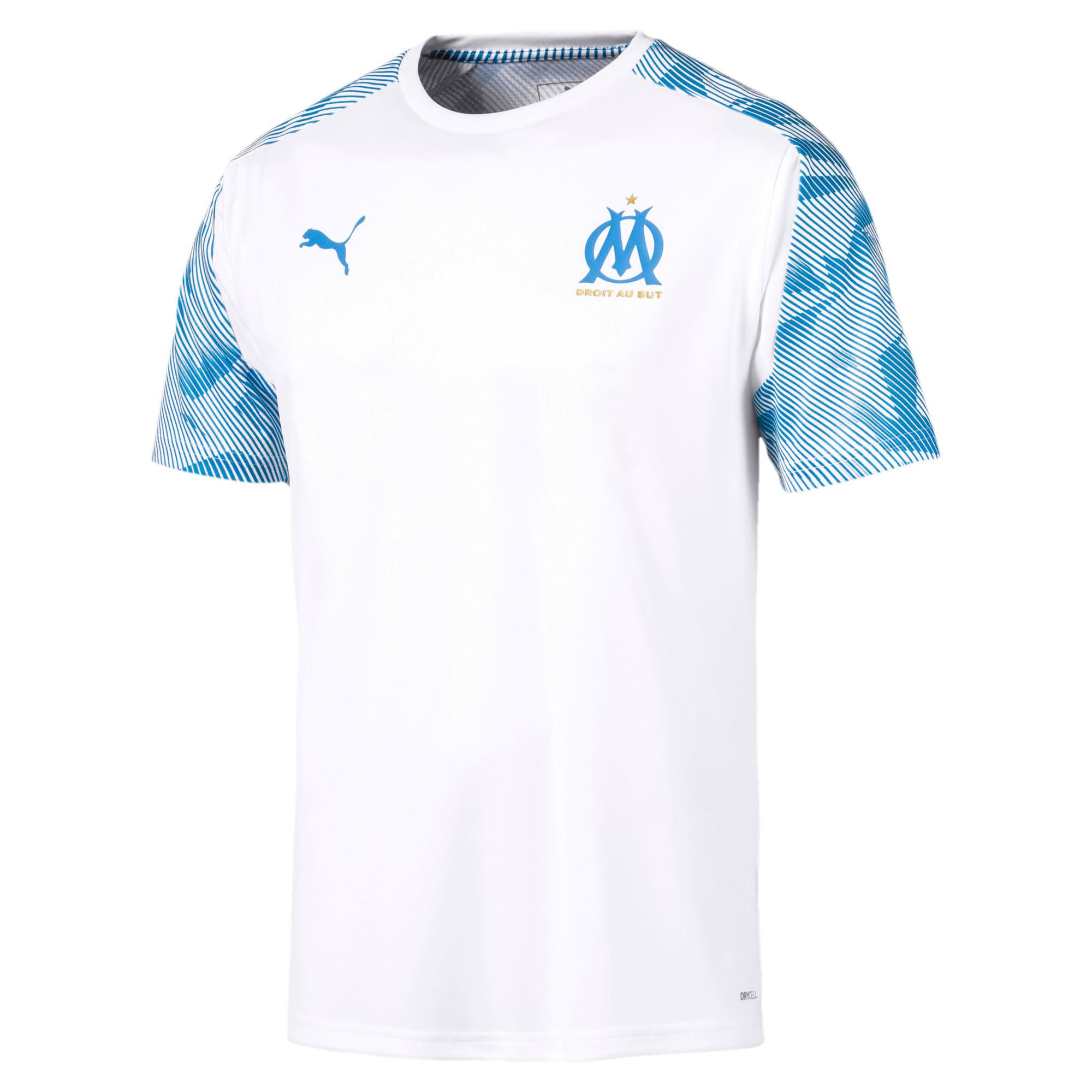 Thumbnail 4 of Olympique de Marseille Short Sleeve Training Jersey, Puma White-Bleu Azur, medium