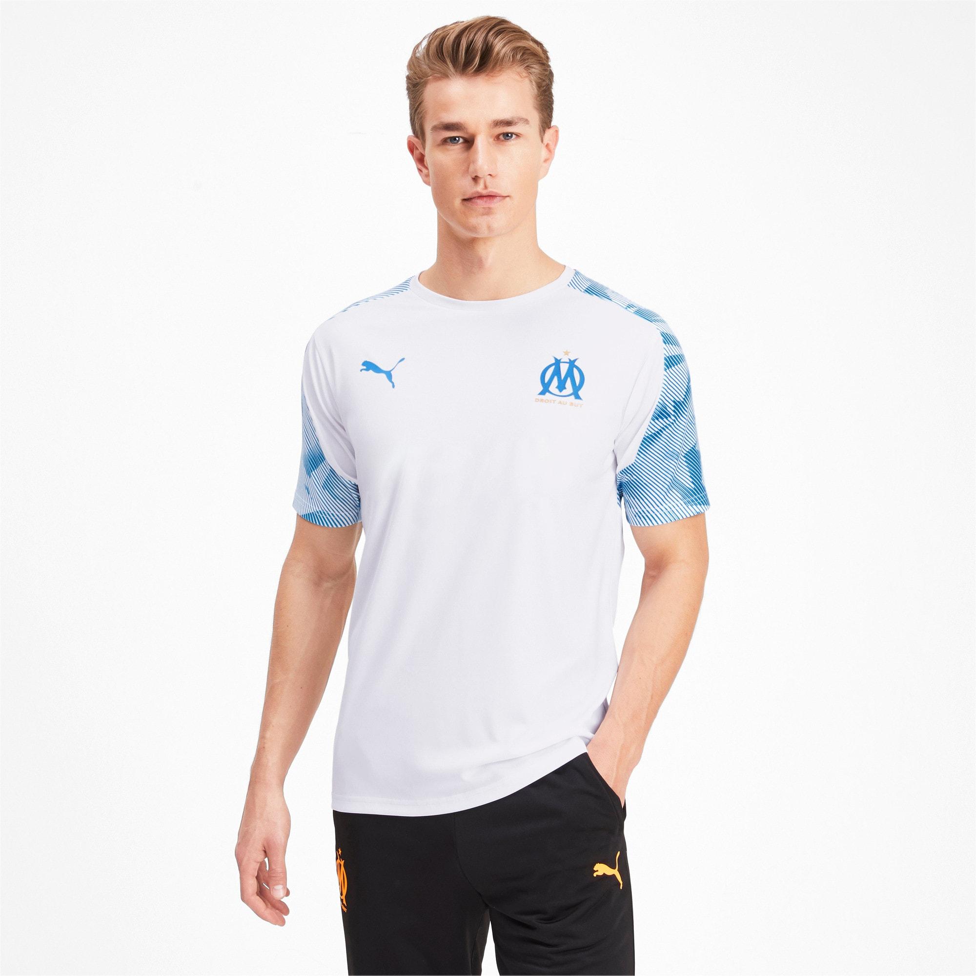 Thumbnail 1 of Olympique de Marseille Men's Training Jersey, Puma White-Bleu Azur, medium