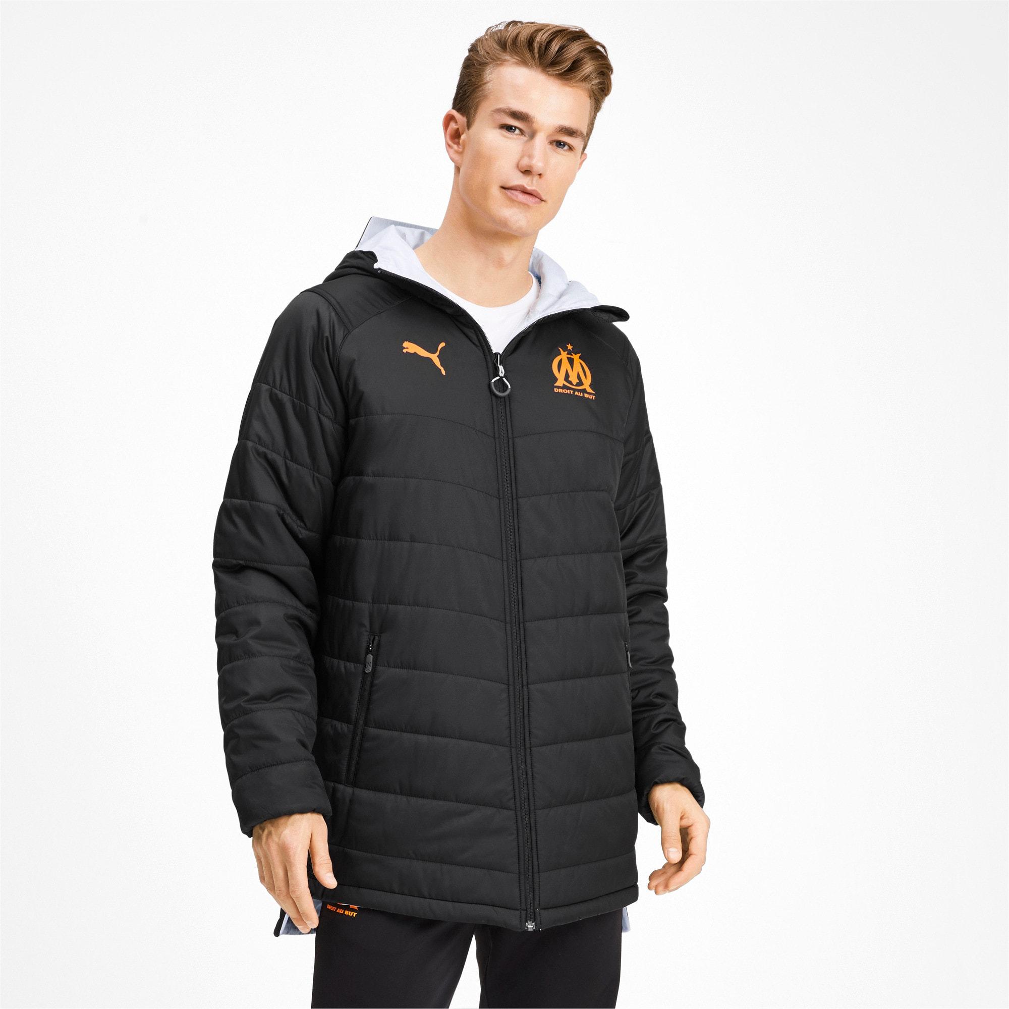Thumbnail 1 of Olympique de Marseille Bench Men's Replica Reversible Jacket, Puma Black-Orange Popsicle, medium