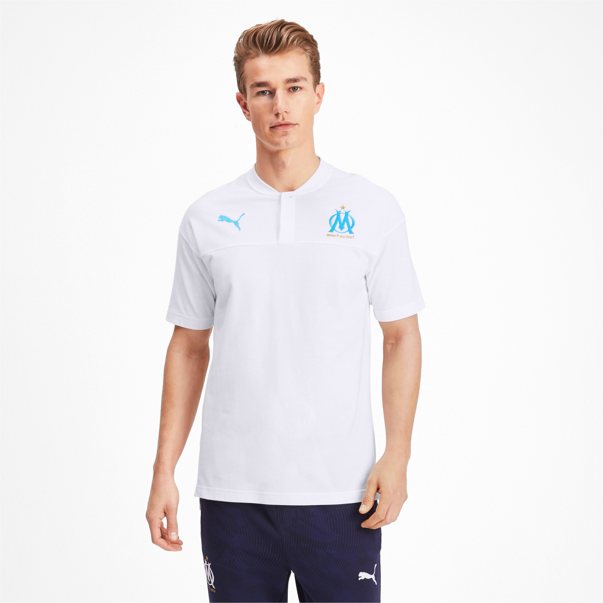 Thumbnail 1 of Olympique de Marseille Casuals Men's Polo Shirt, Puma White-Bleu Azur, medium