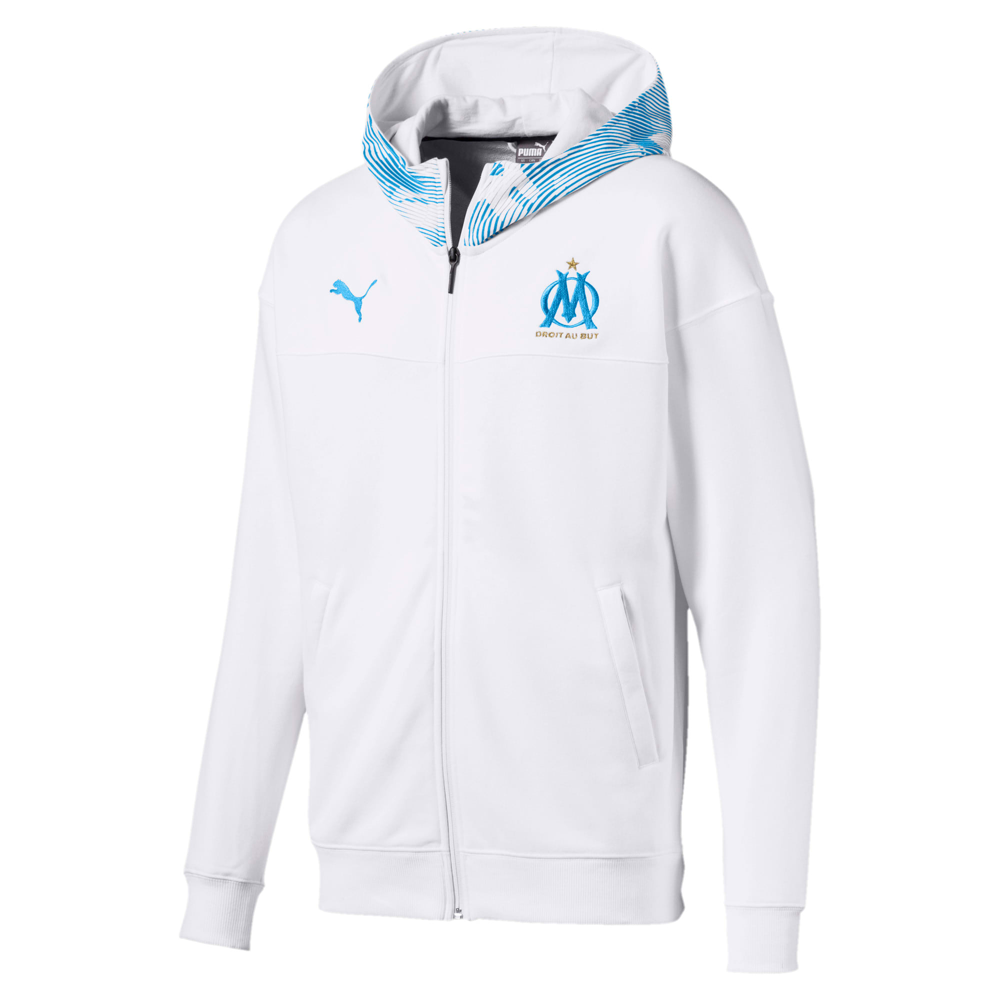 Thumbnail 4 of Olympique de Marseille Casuals Men's Zipped Hoodie, Puma White-Bleu Azur, medium