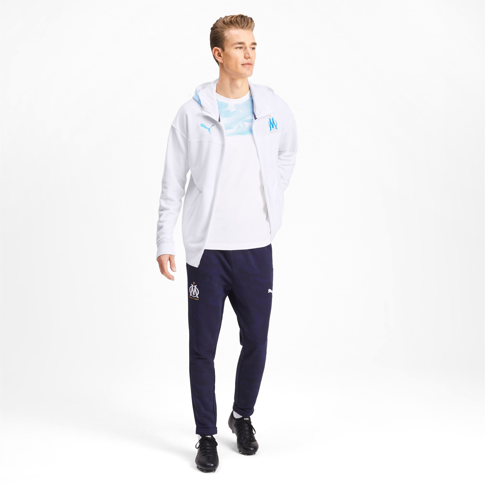 Thumbnail 3 of Olympique de Marseille Casuals Men's Zipped Hoodie, Puma White-Bleu Azur, medium