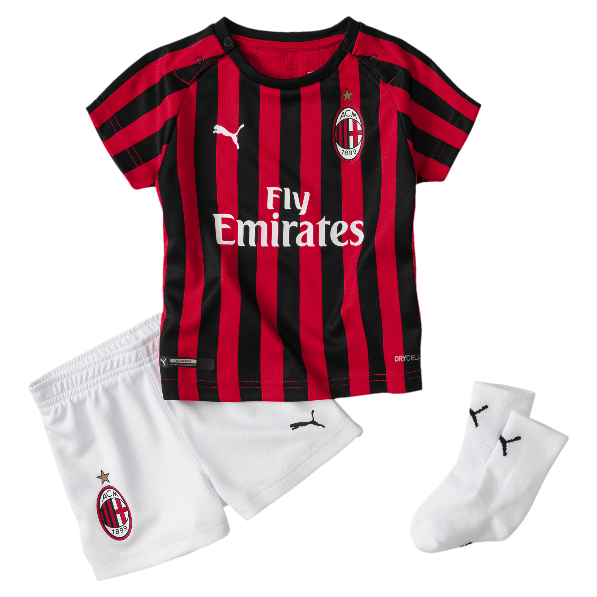 Thumbnail 1 of AC Milan Home Babies' Mini Kit With Socks, Tango Red -Puma Black, medium