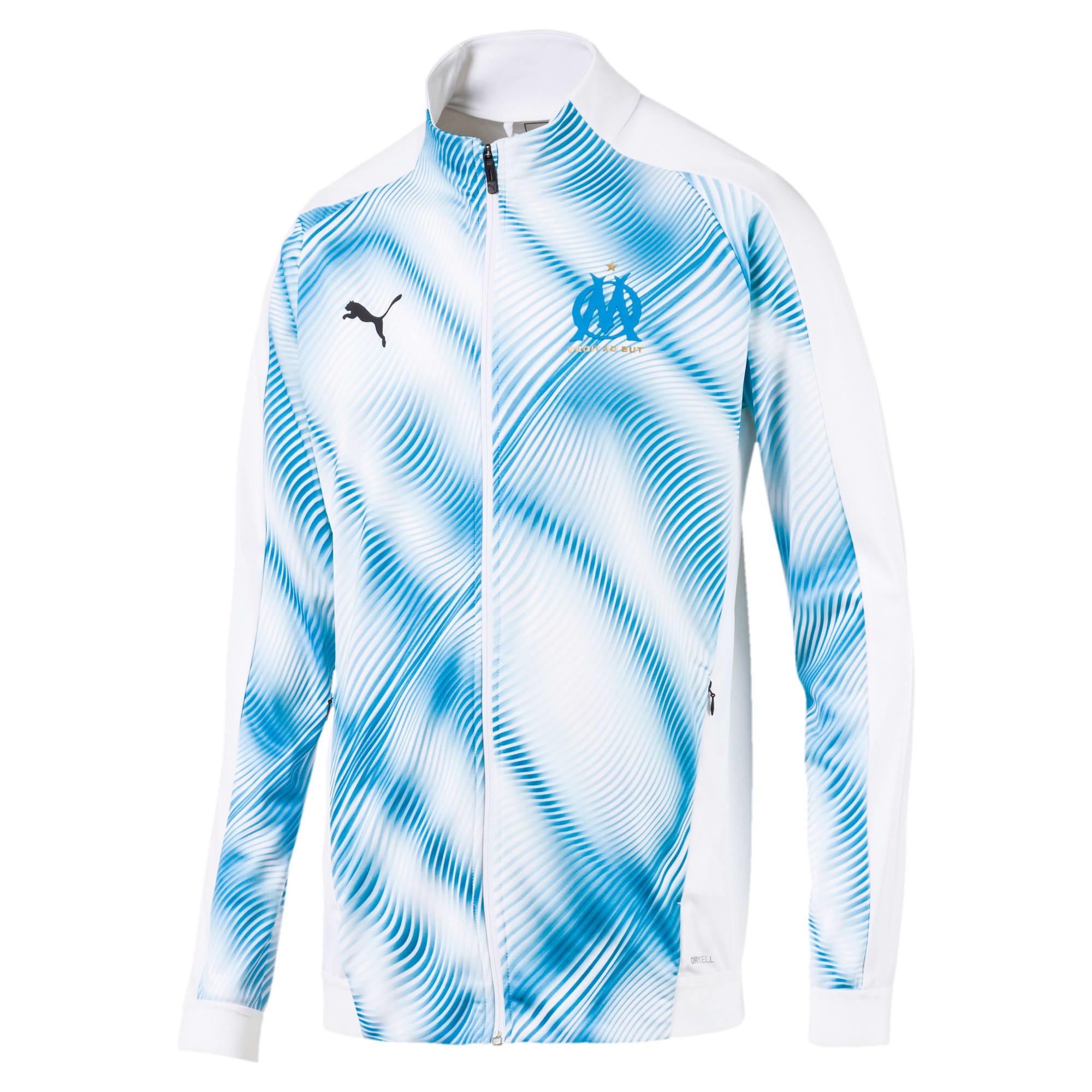 Thumbnail 1 of Olympique de Marseille Men's Stadium Jacket, Puma White-Bleu Azur, medium