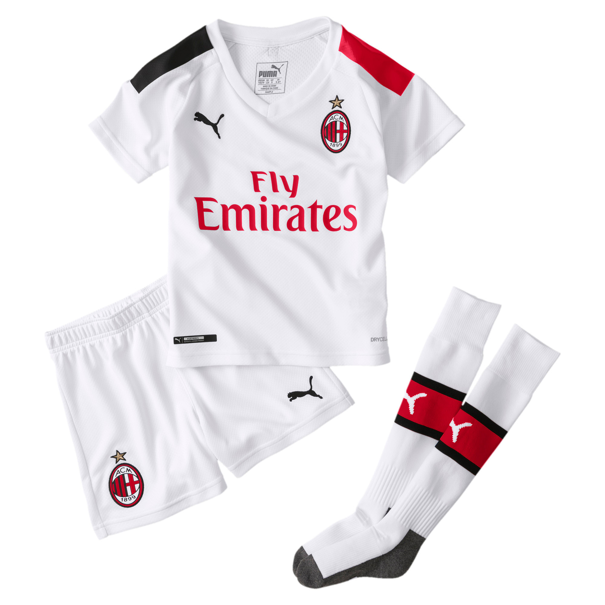 Thumbnail 1 of AC Milan Away Mini Kit, Puma White-Tango Red, medium
