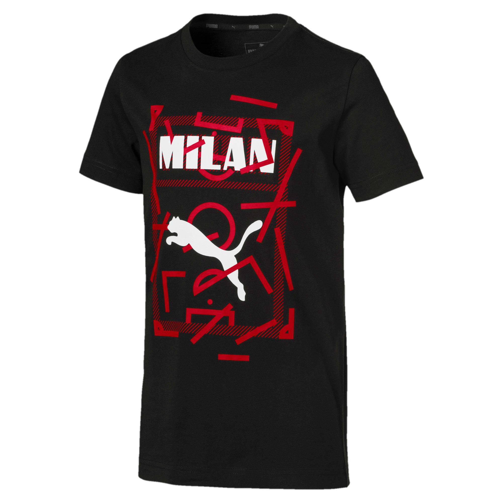 Thumbnail 1 of AC Milan DNA Kinder T-Shirt, Cotton Black-tango red, medium