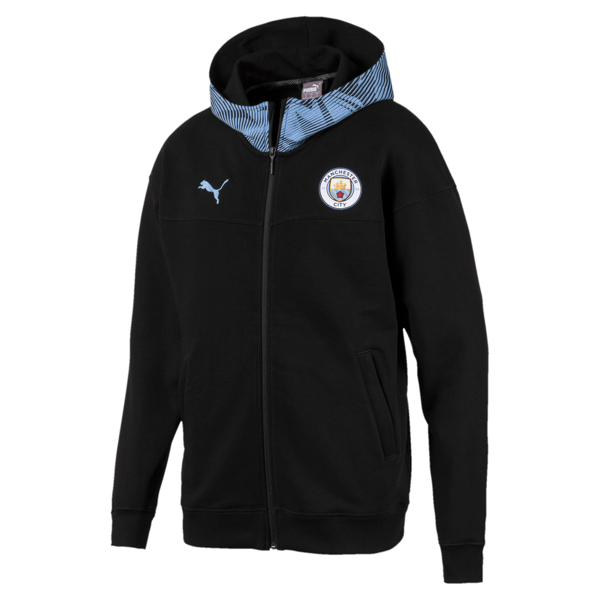 Thumbnail 1 of Manchester City Casuals Herren Kapuzenjacke, Puma Black-Team Light Blue, medium
