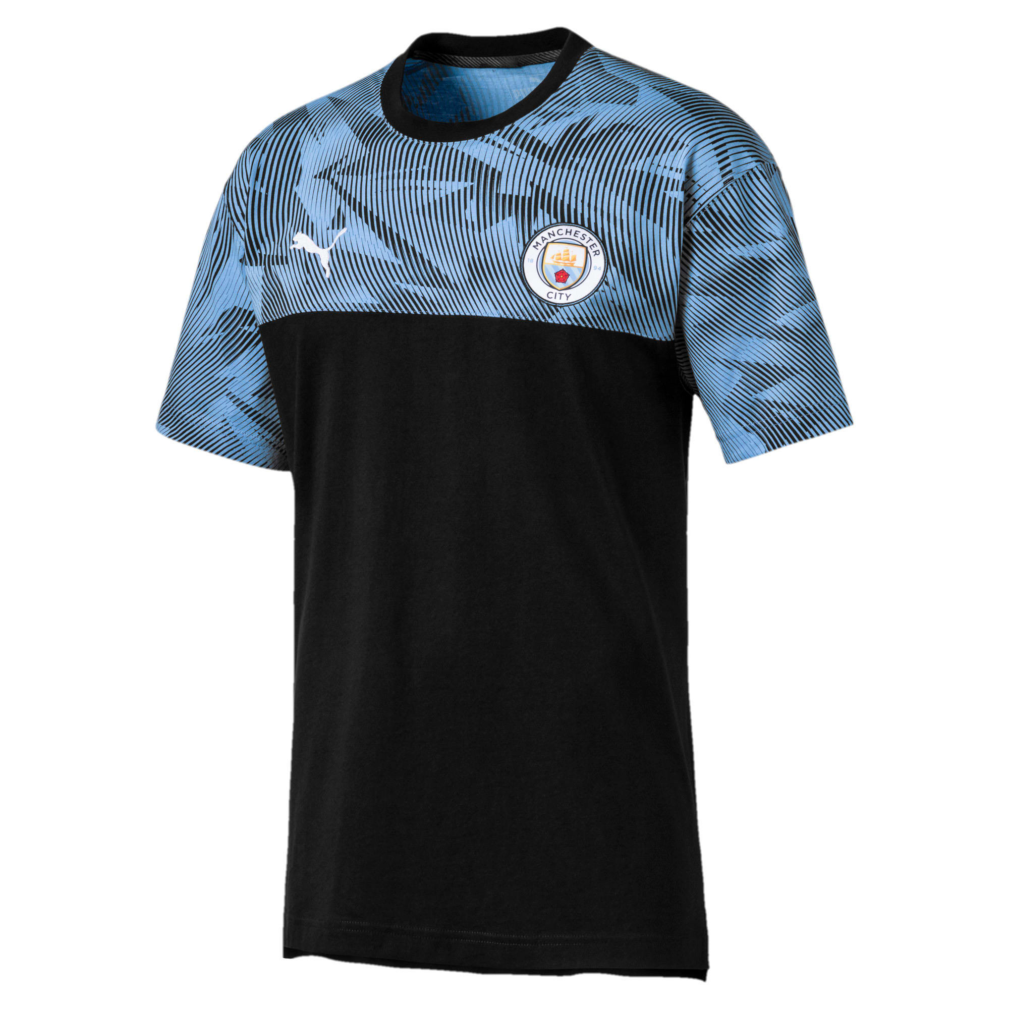 Thumbnail 1 of T-Shirt Manchester City Casuals pour homme, Puma Black-Team Light Blue, medium