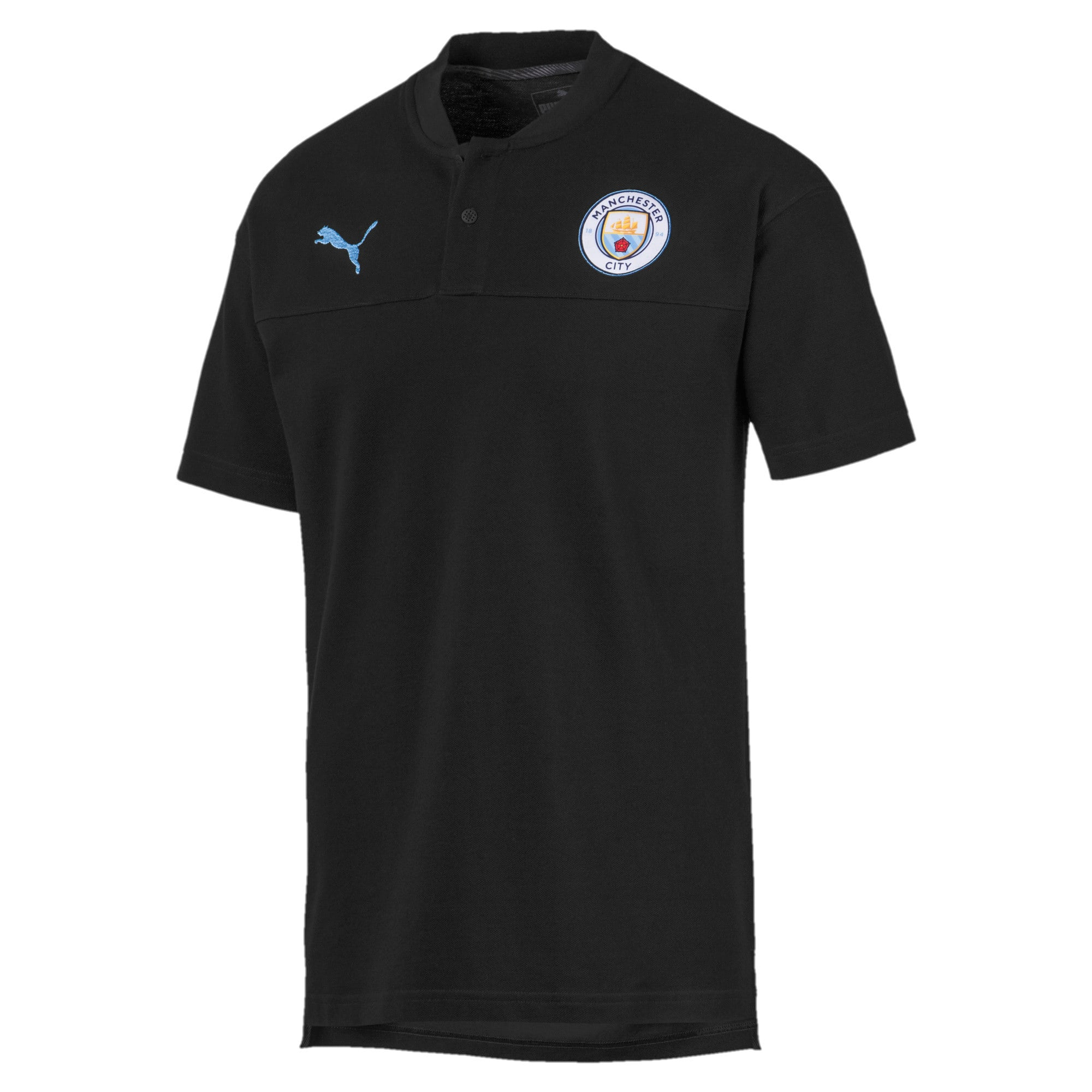 Thumbnail 1 of Man City Casuals Men's Polo Shirt, Puma Black-Team Light Blue, medium