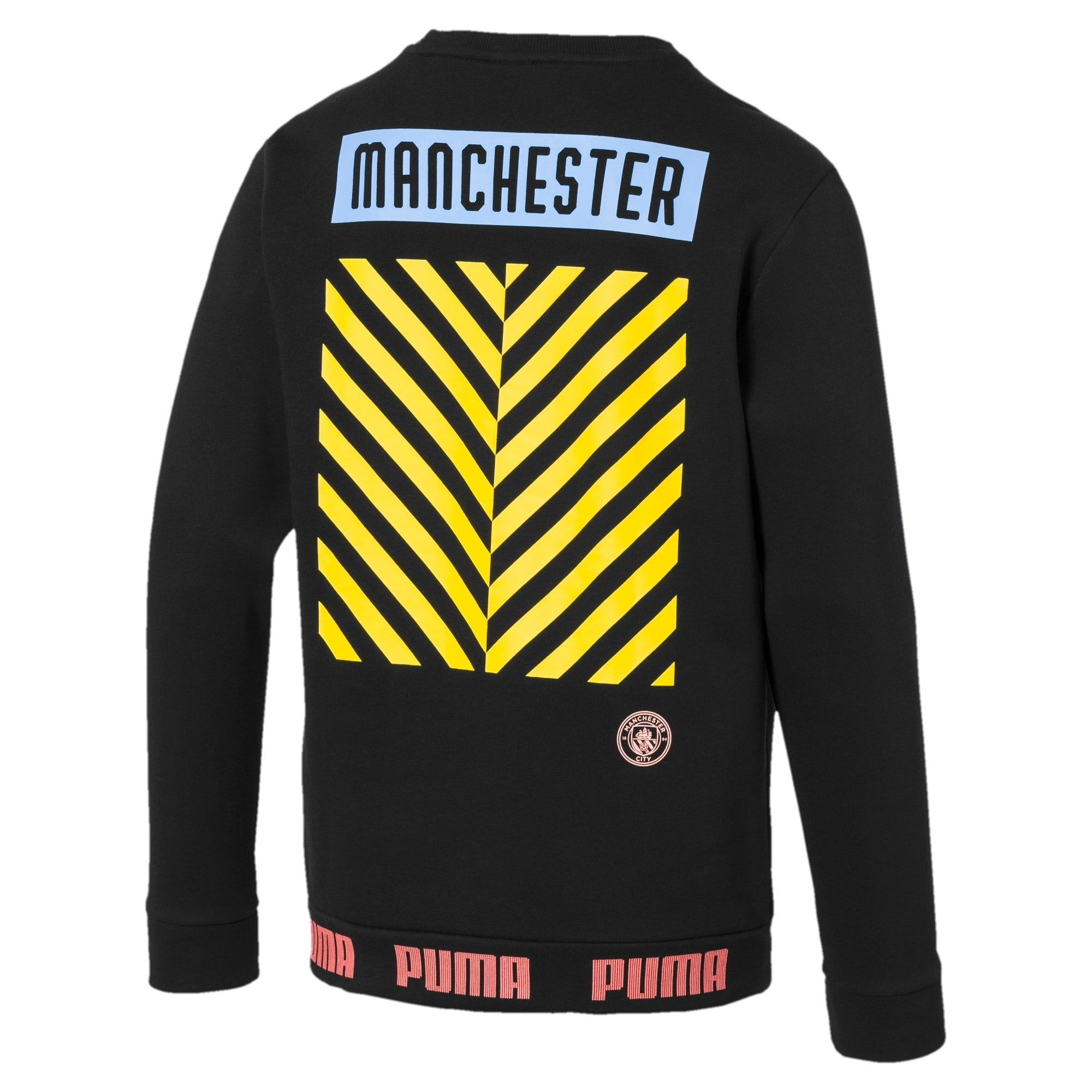 Thumbnail 2 of Manchester City FC FtblCulture Men's Sweatshirt, Puma Black-Georgia Peach, medium