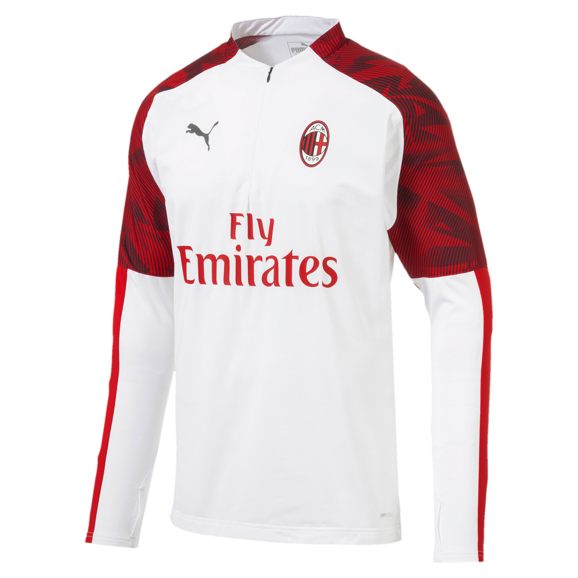Thumbnail 4 of AC Milan Men's 1/4 Zip Top, Puma White-Tango Red, medium