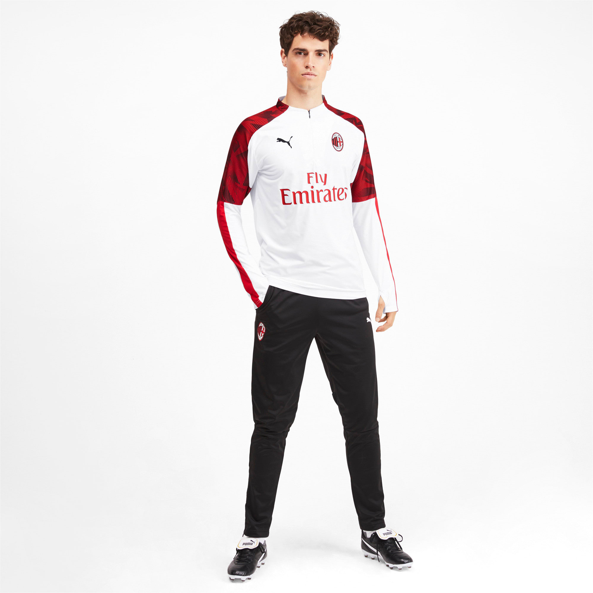 Thumbnail 3 of AC Milan Men's 1/4 Zip Top, Puma White-Tango Red, medium