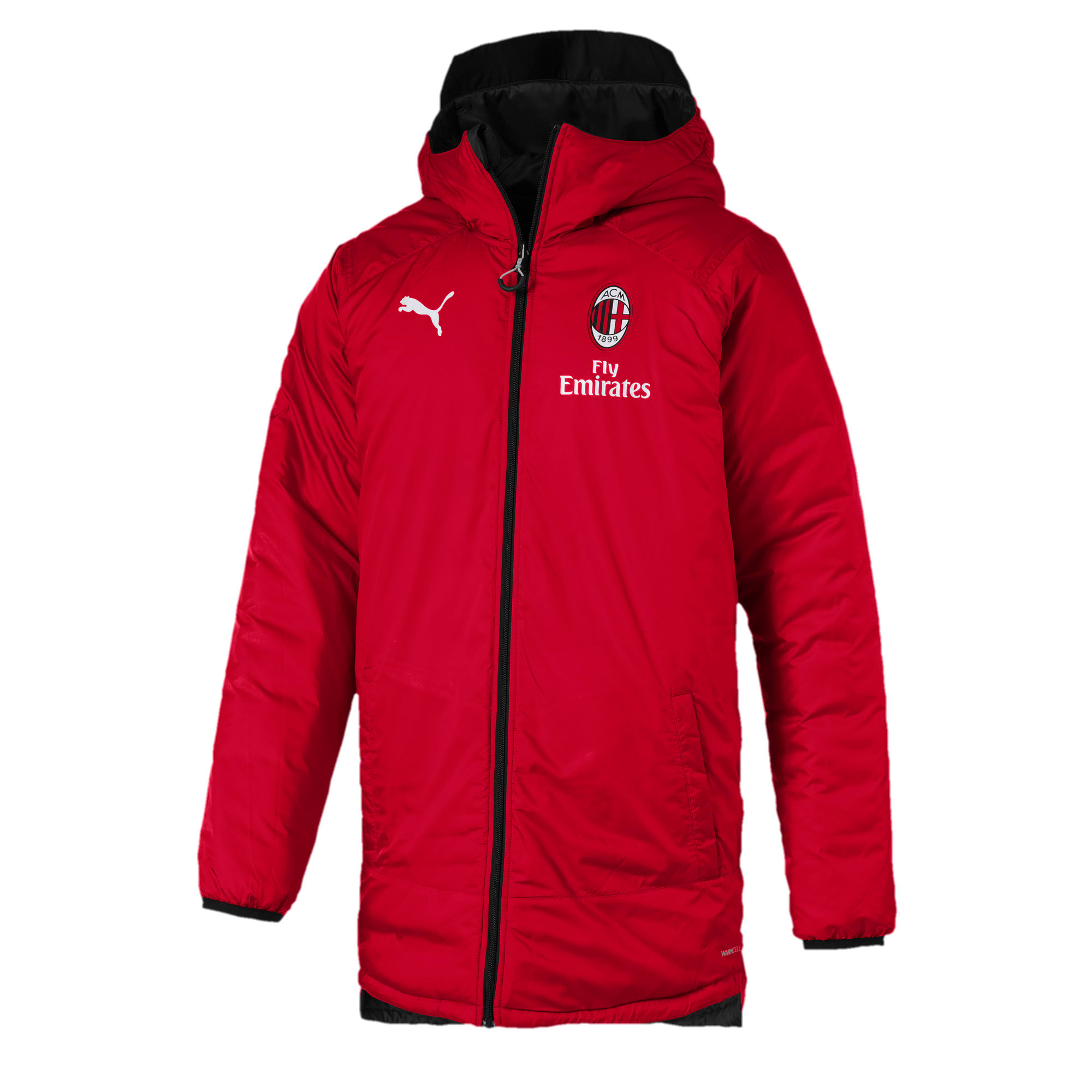 Thumbnail 6 of AC Milan Reversible Men's Bench Jacket, Puma Black-Tango Red, medium