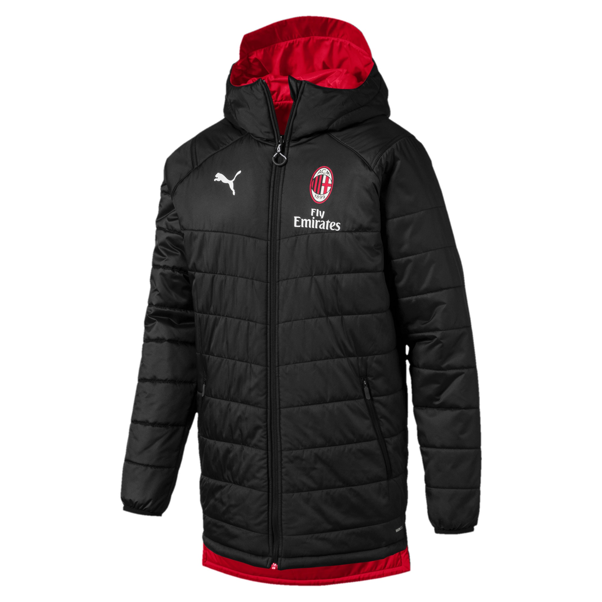 Thumbnail 4 of AC Milan Reversible Men's Bench Jacket, Puma Black-Tango Red, medium
