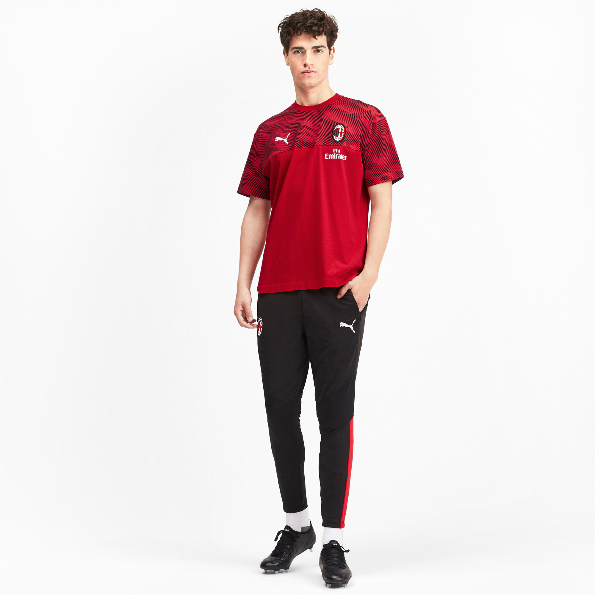 Thumbnail 3 of AC Milan Casuals Herren T-Shirt, Tango Red -Puma Black, medium