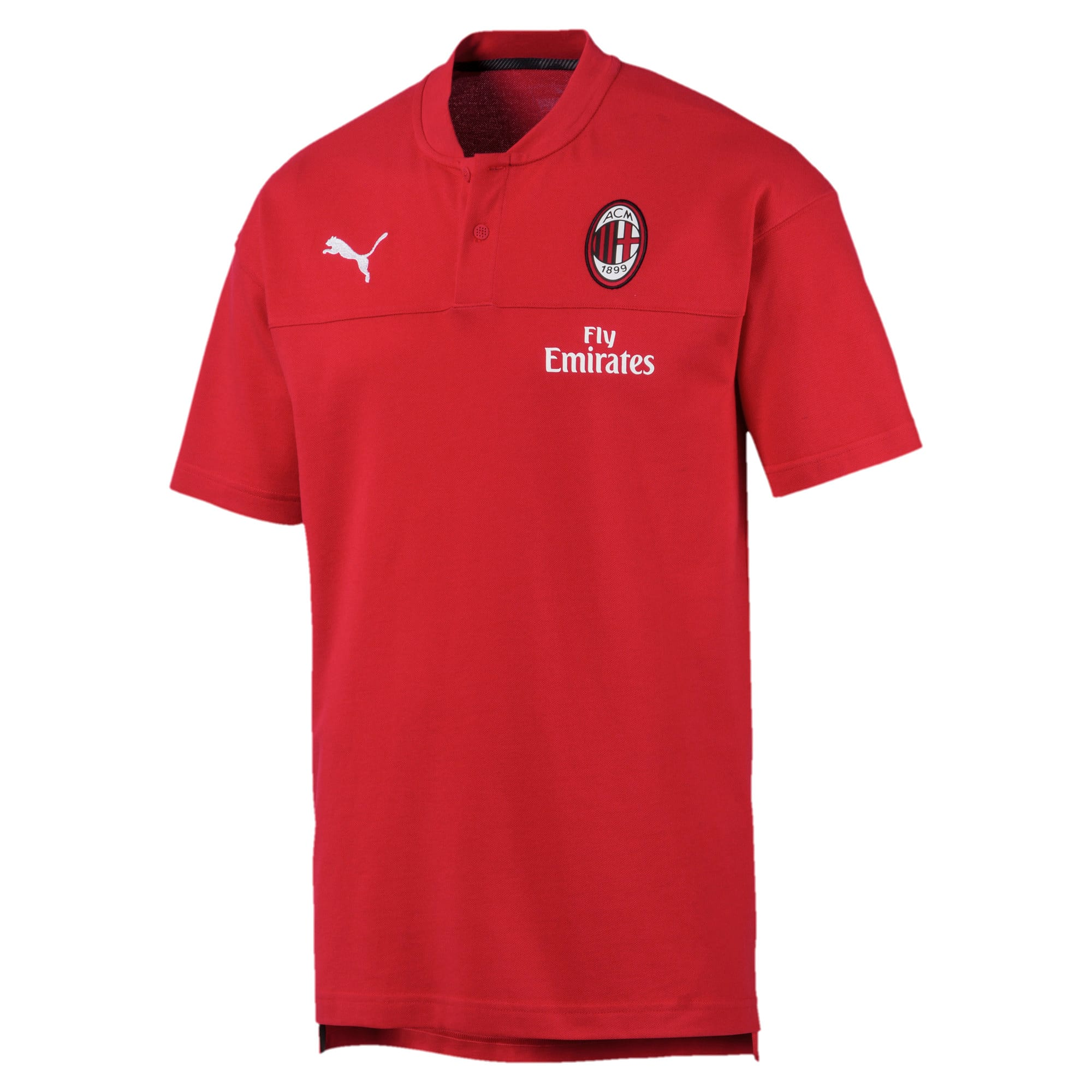 Thumbnail 4 of AC Milan Casuals Men's Polo Shirt, Tango Red -Puma Black, medium