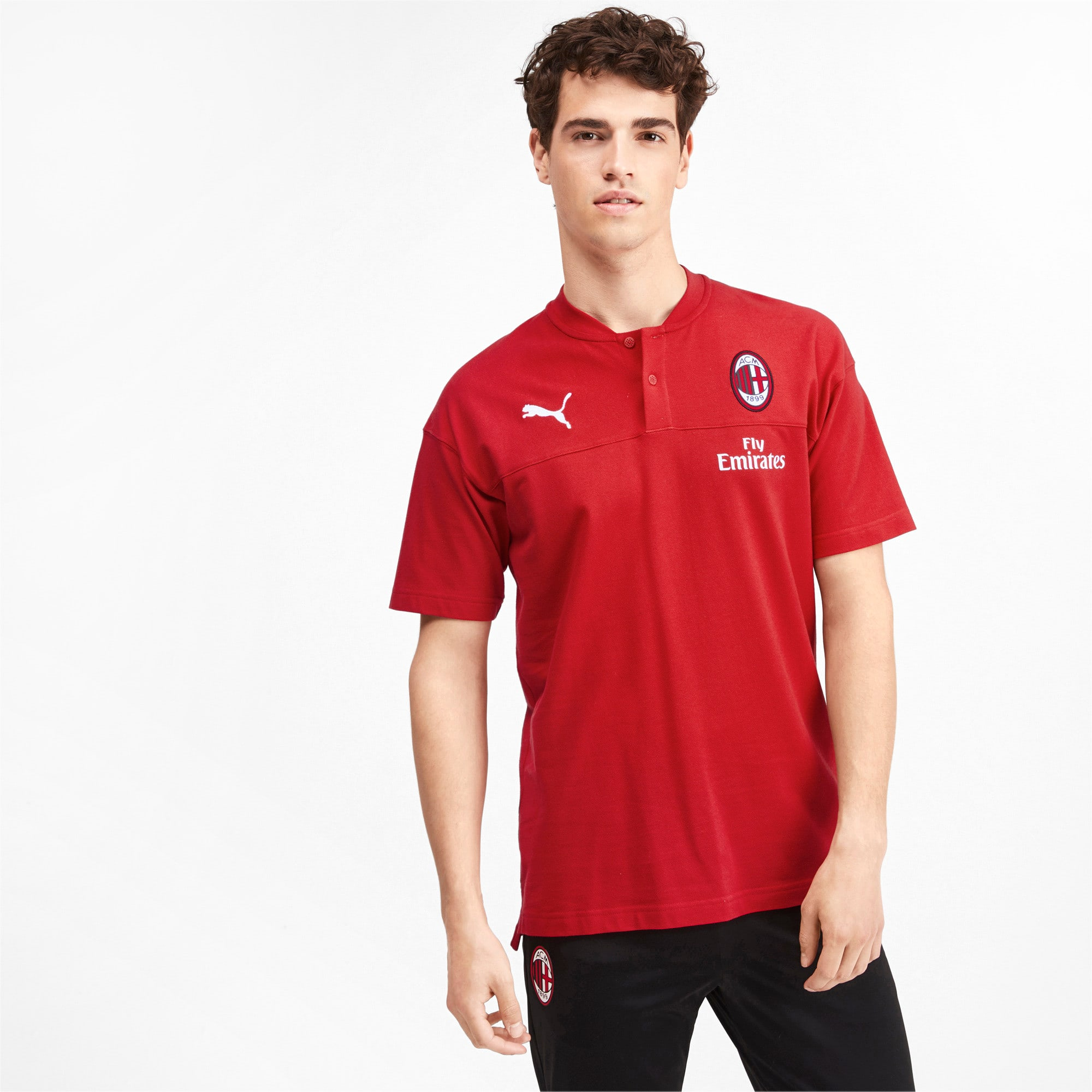 Thumbnail 1 of AC Milan Casuals Men's Polo Shirt, Tango Red -Puma Black, medium