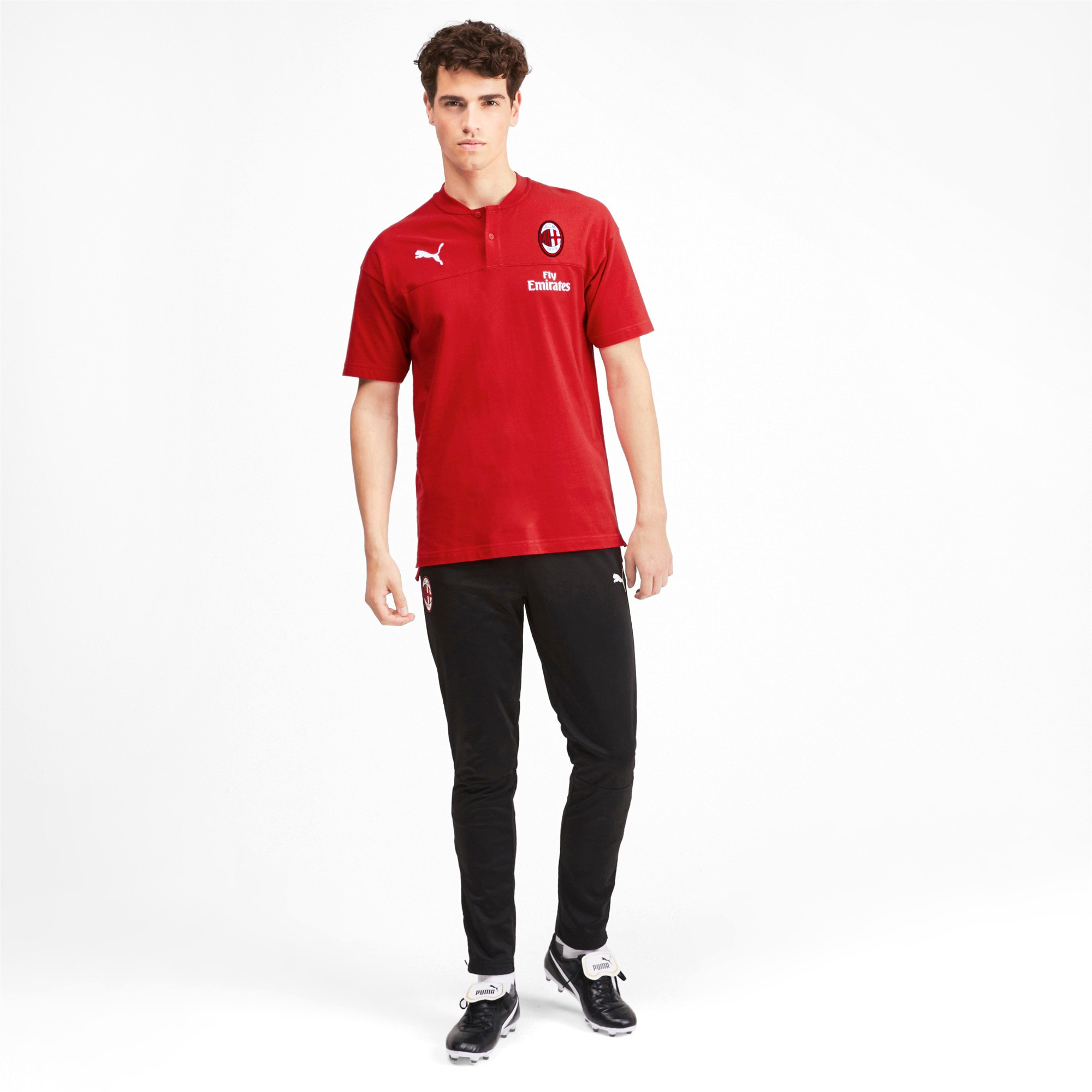 Thumbnail 3 of AC Milan Casuals Men's Polo Shirt, Tango Red -Puma Black, medium