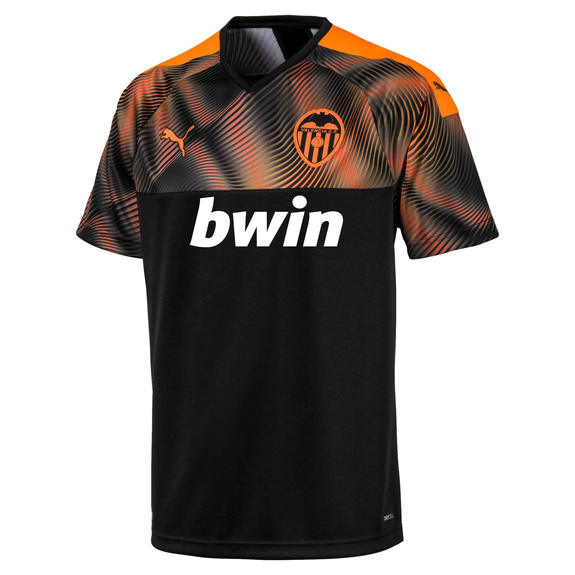 Imagen en miniatura 1 de Camiseta de la segunda equipación de réplica de hombre Valencia CF, Puma Black-Vibrant Orange, mediana
