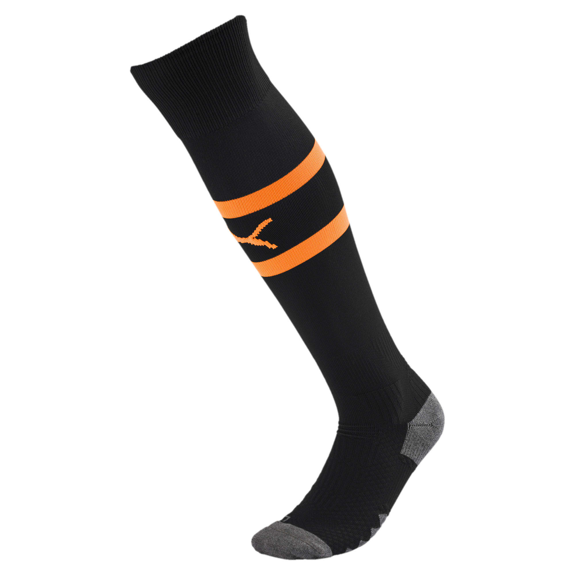 Thumbnail 1 of Valencia CF Men's Banded Socks, Puma Black-Vibrant Orange, medium